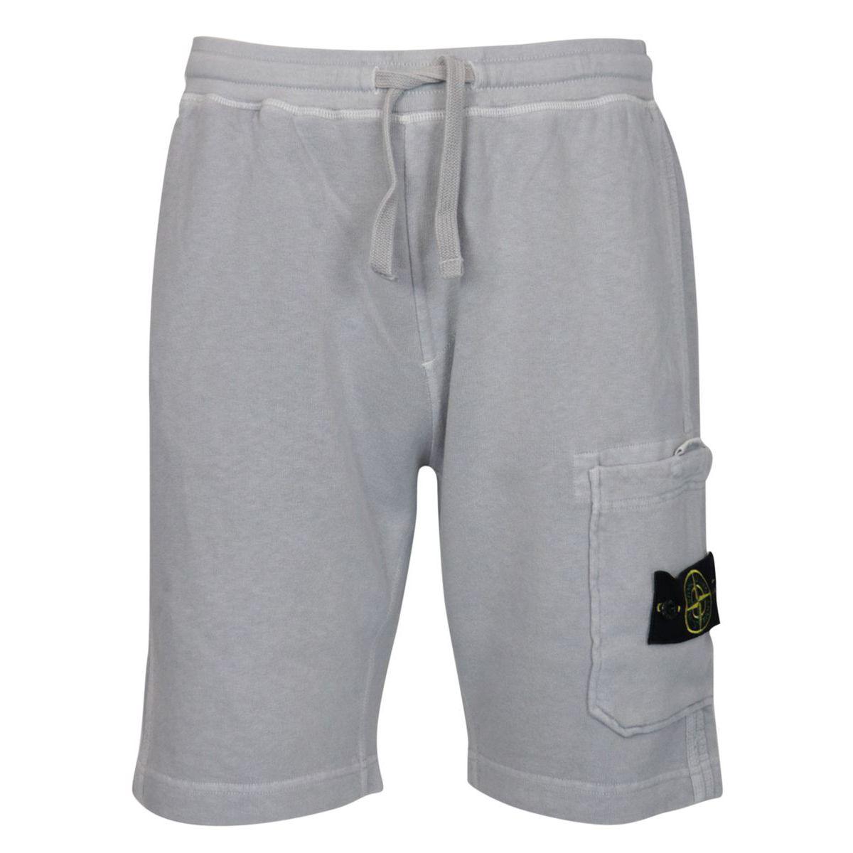 Regular-fit bermuda shorts in aged effect cotton fleece Powder Stone Island