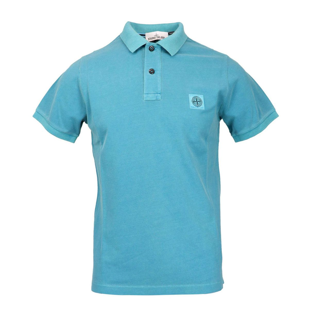 Slim-fit polo shirt in iridescent cotton pique Turquoise Stone Island