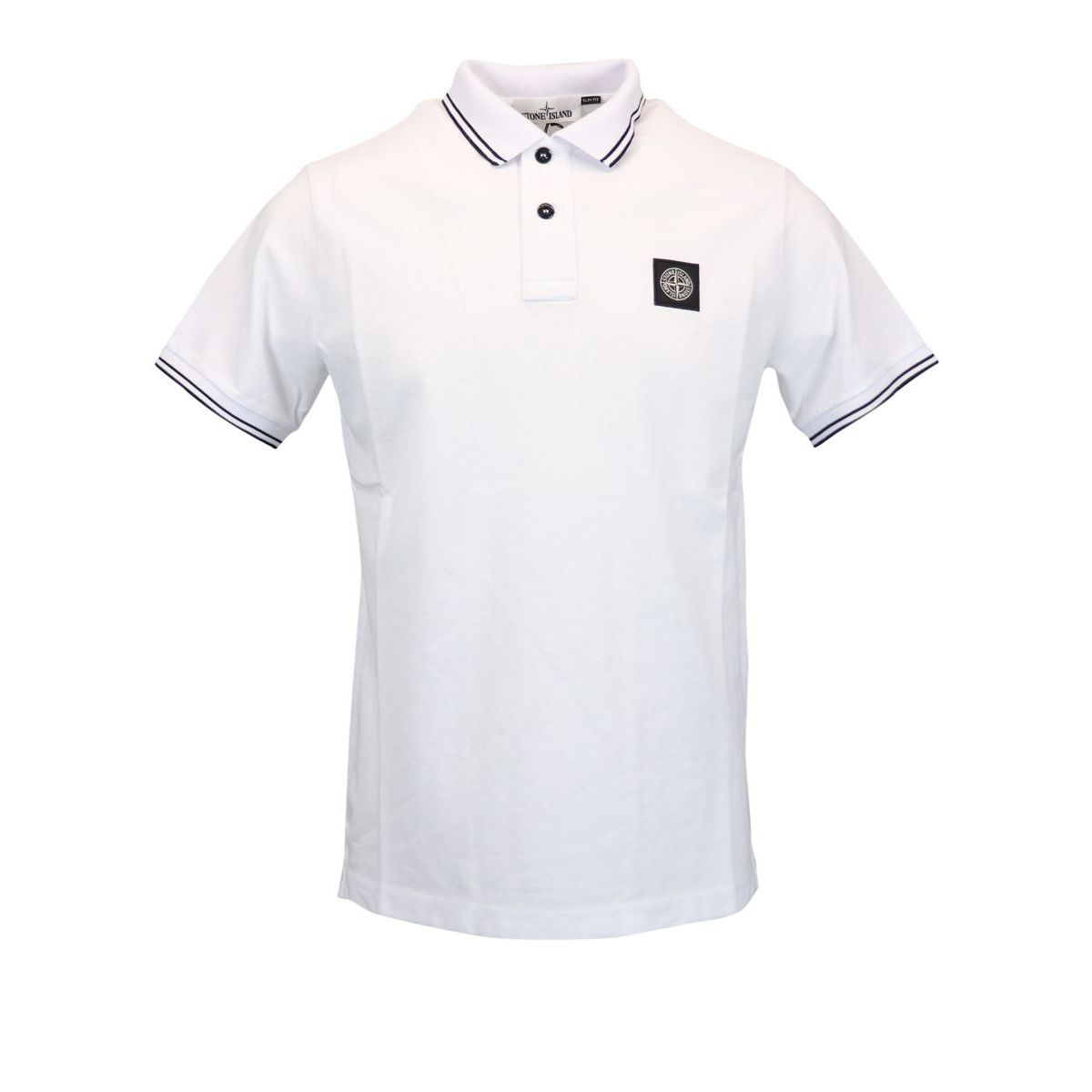 Slim-fit polo shirt in cotton pique with striped edges White Stone Island
