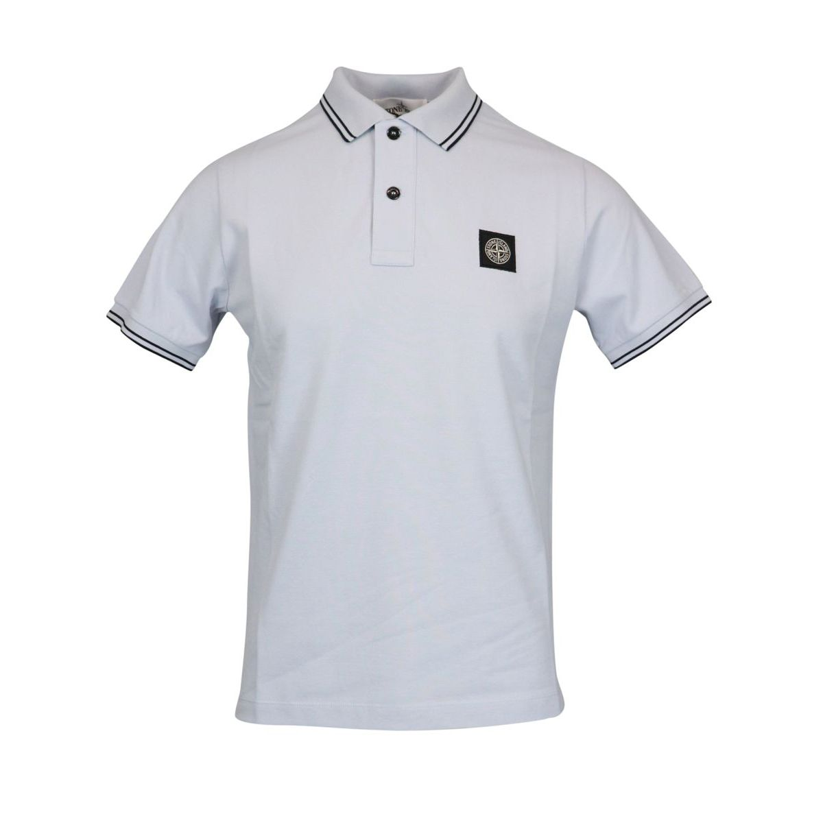 Slim-fit polo shirt in cotton pique with striped edges Sky Stone Island