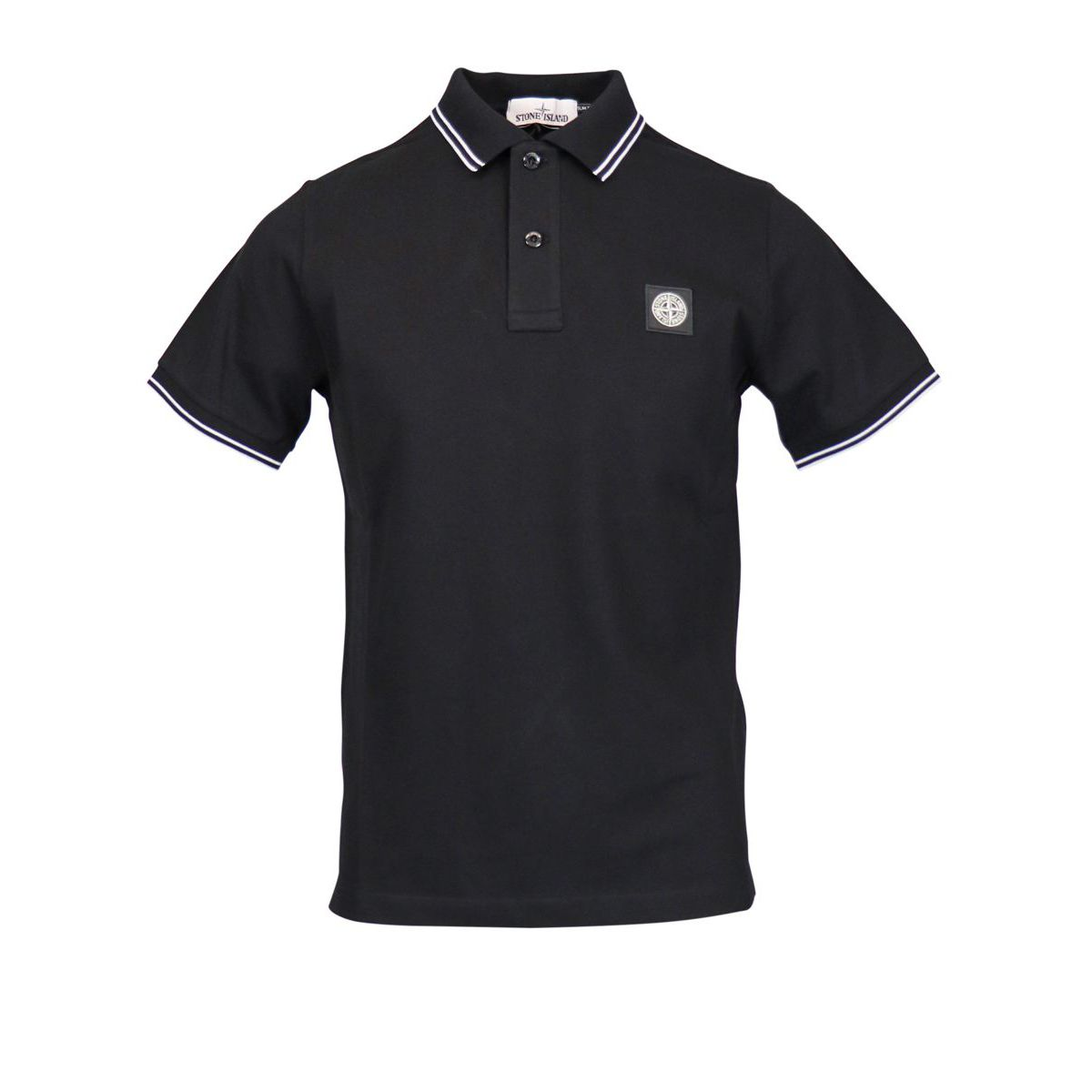 Slim-fit polo shirt in cotton pique with striped edges Black Stone Island