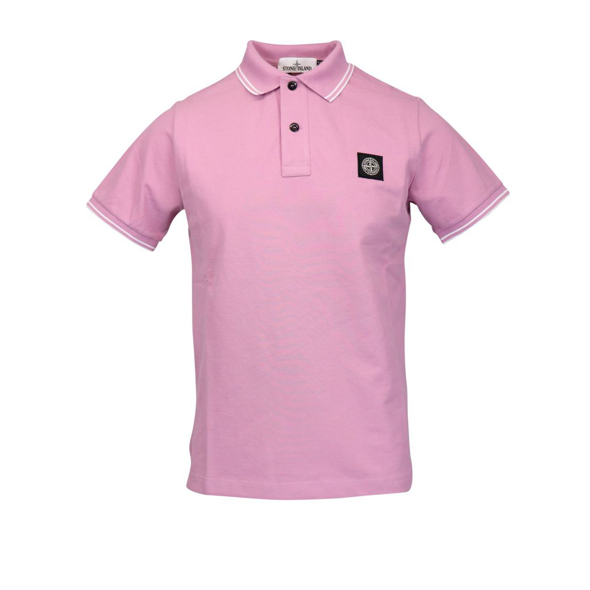 Slim-fit polo shirt in cotton pique with striped edges Rose Stone Island