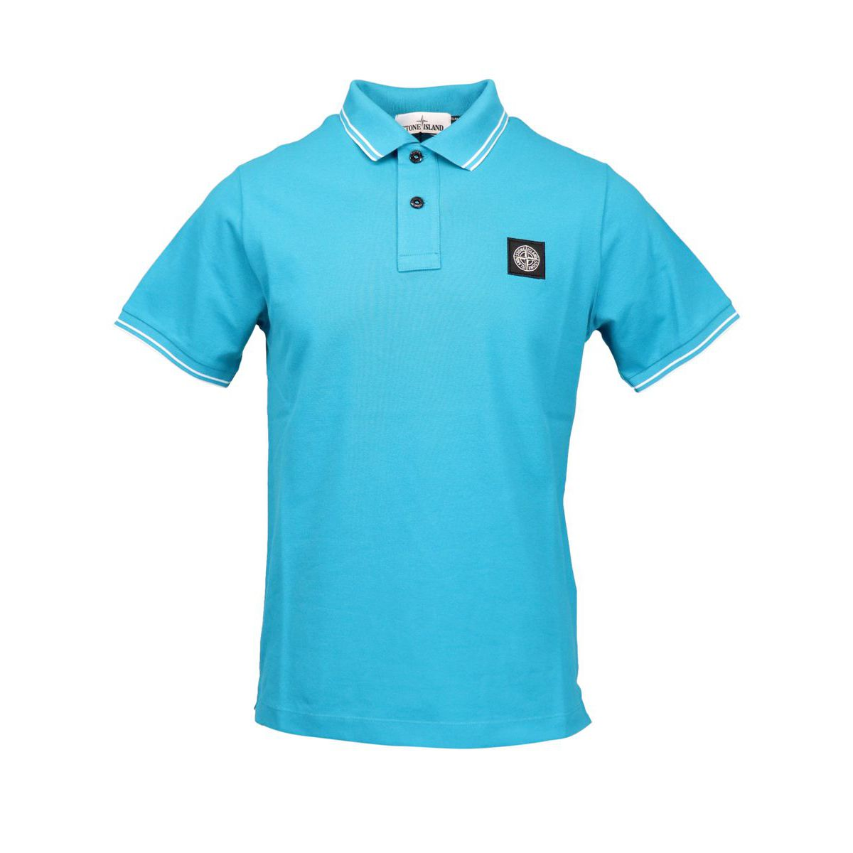 Slim-fit polo shirt in cotton pique with striped edges Turquoise Stone Island