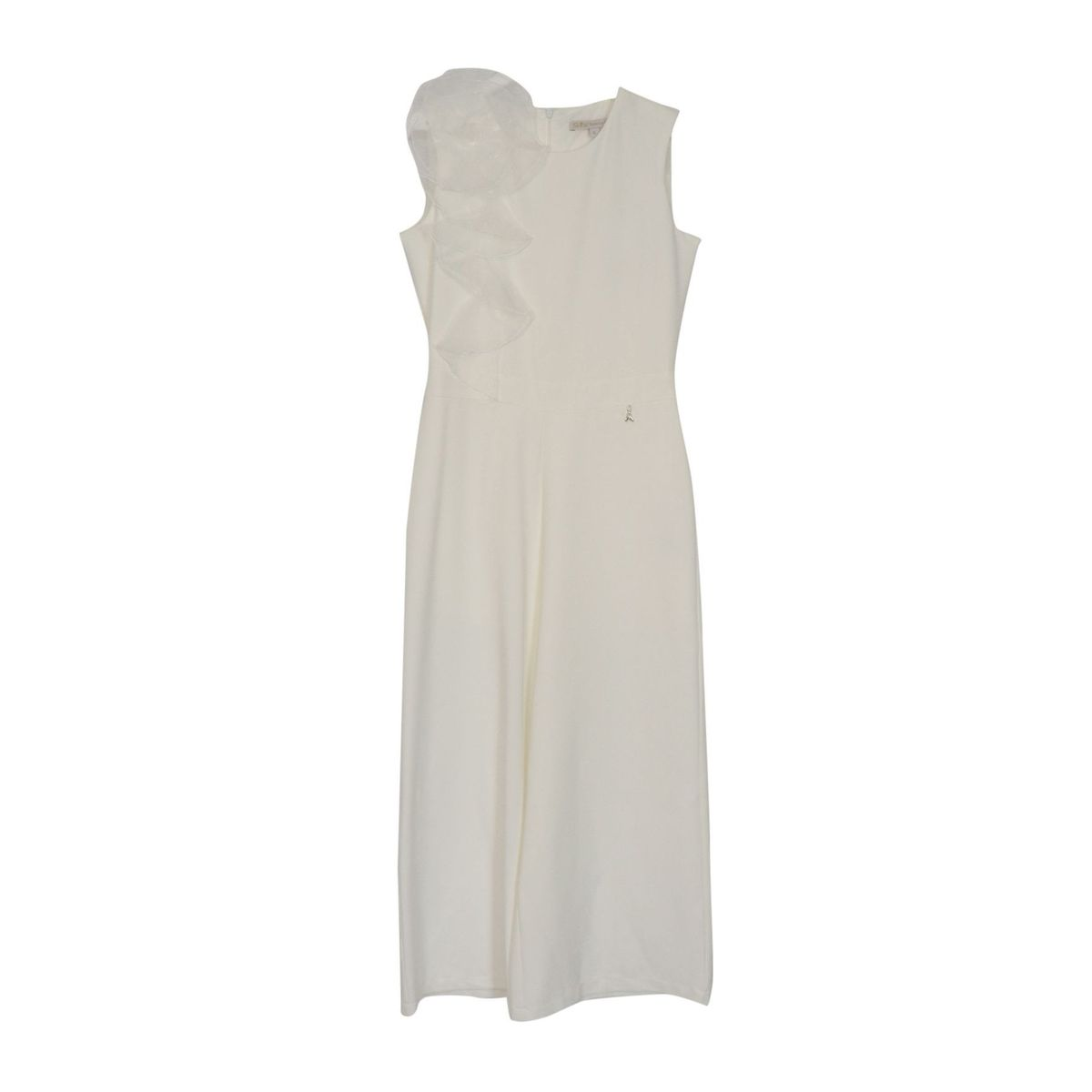 Crepe jumpsuit with wide trousers and ruffle application White Patrizia Pepe