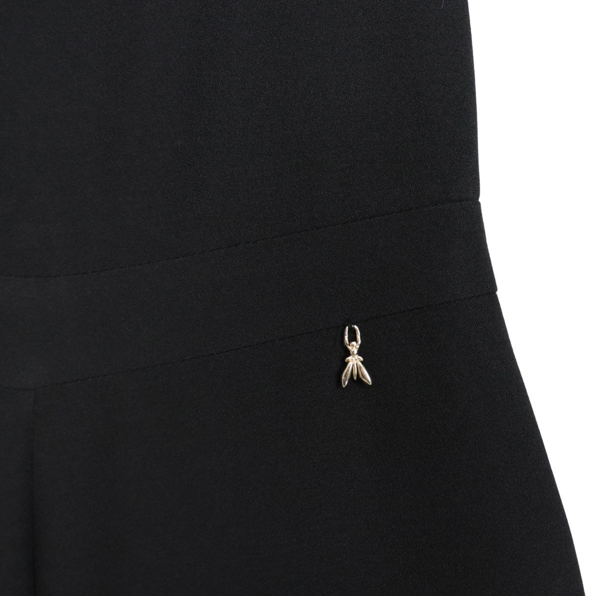 Crepe jumpsuit with wide trousers and ruffle application Black Patrizia Pepe