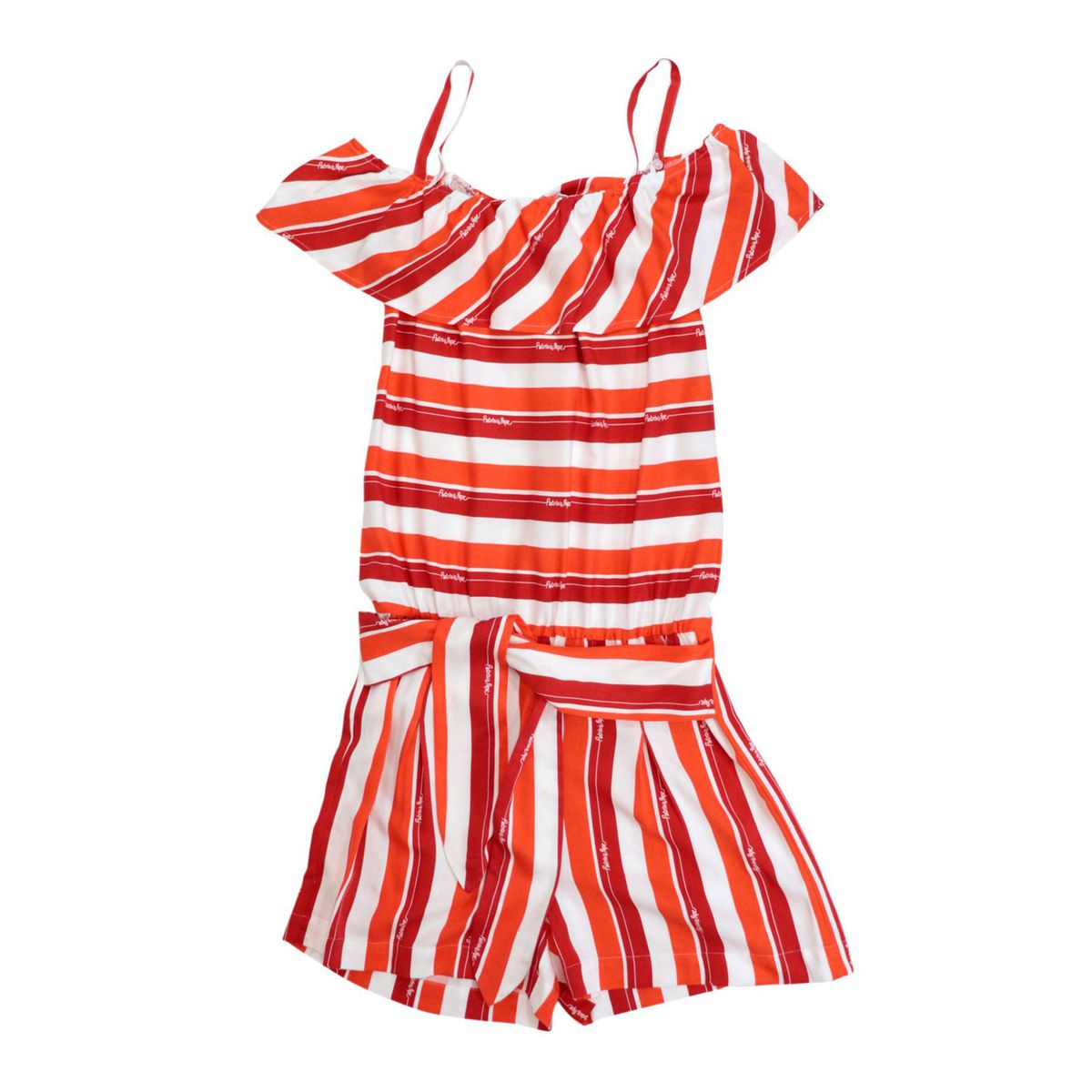 Short viscose jumpsuit with boat neckline with flounce Red Patrizia Pepe