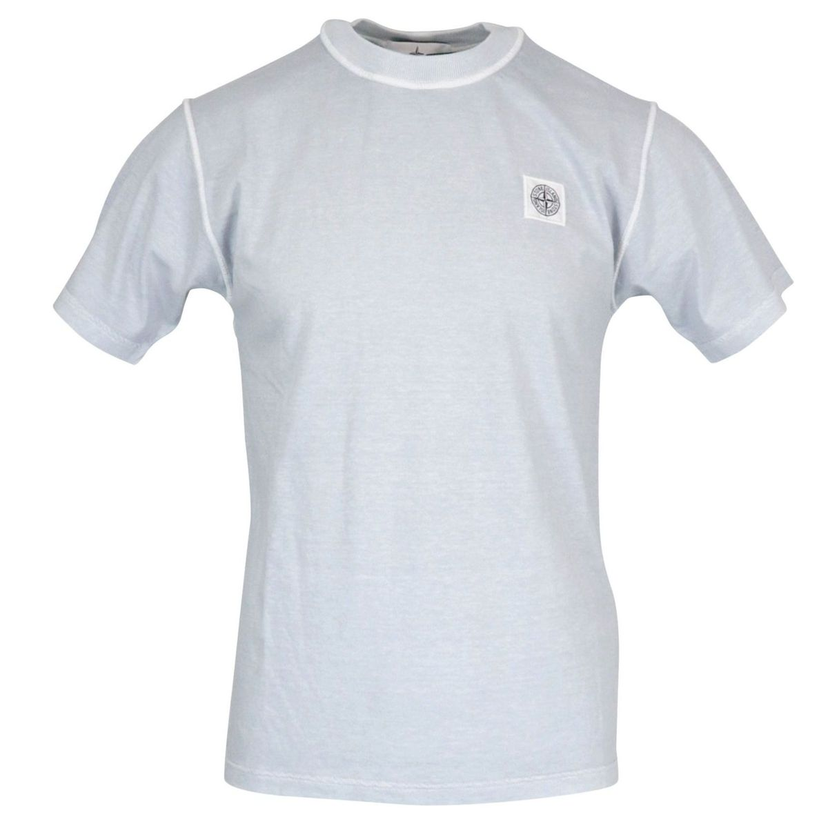Cotton t-shirt with logo patch on the chest Silver lily Stone Island