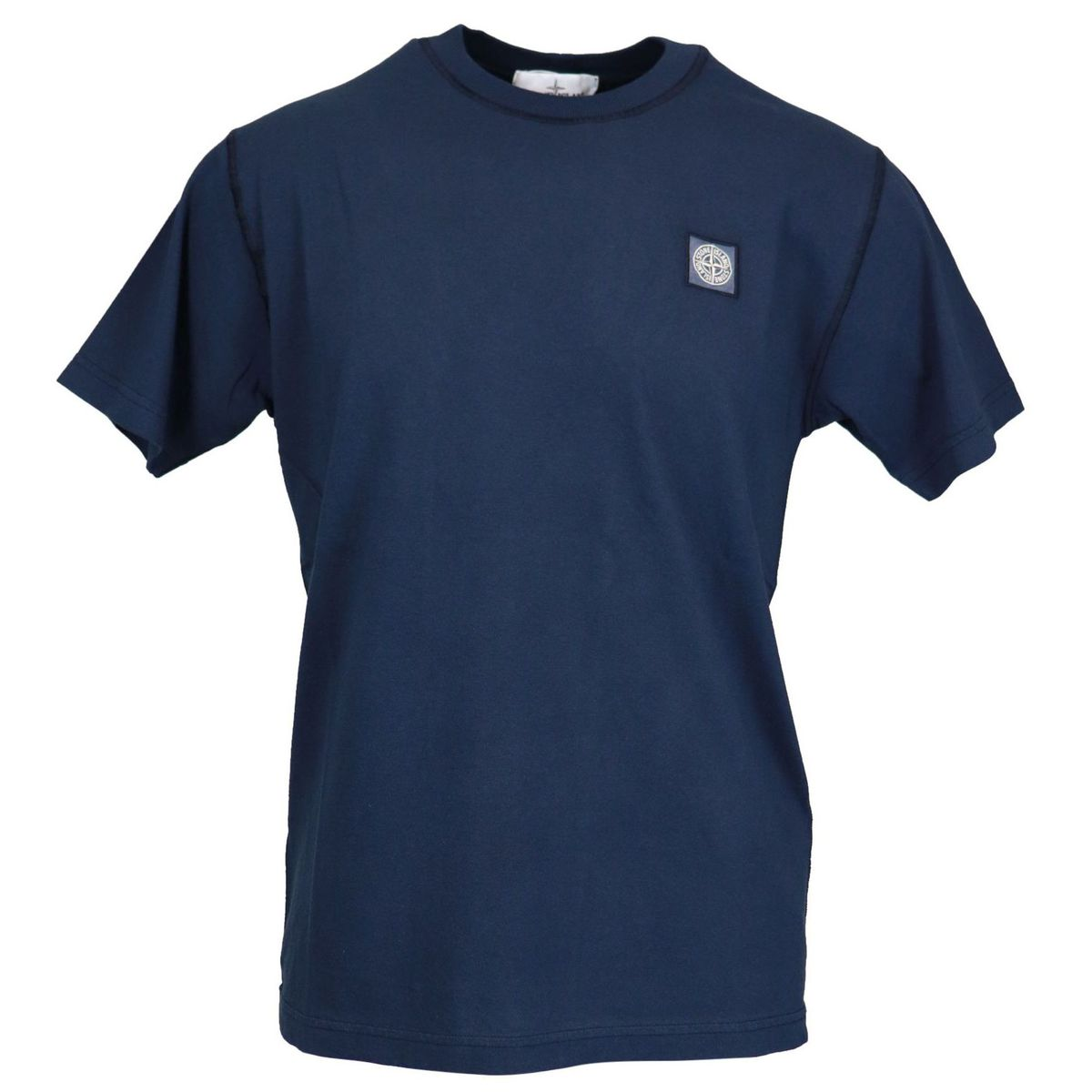 Cotton t-shirt with logo patch on the chest Navy Stone Island