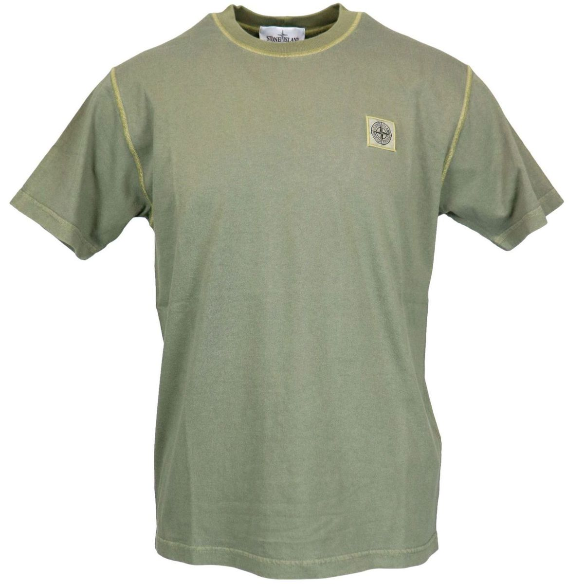 Cotton t-shirt with logo patch on the chest Olive Stone Island