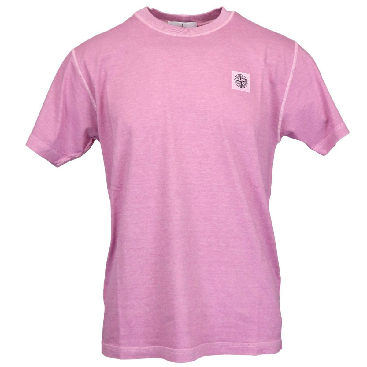 Cotton t-shirt with logo patch on the chest Rose Stone Island