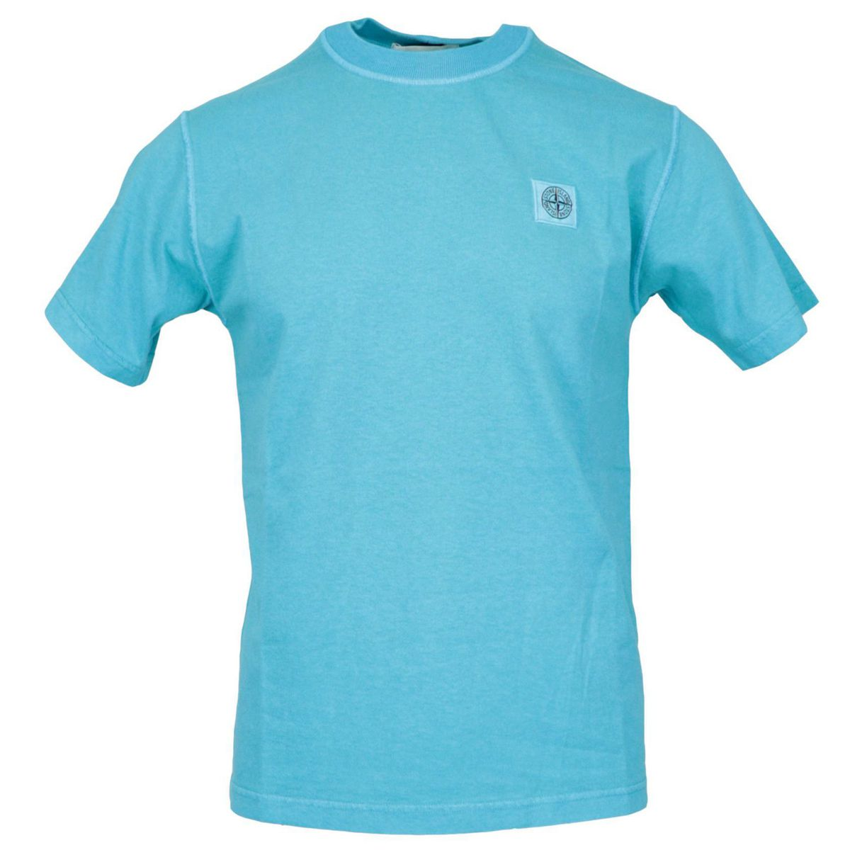 Cotton t-shirt with logo patch on the chest Turquoise Stone Island