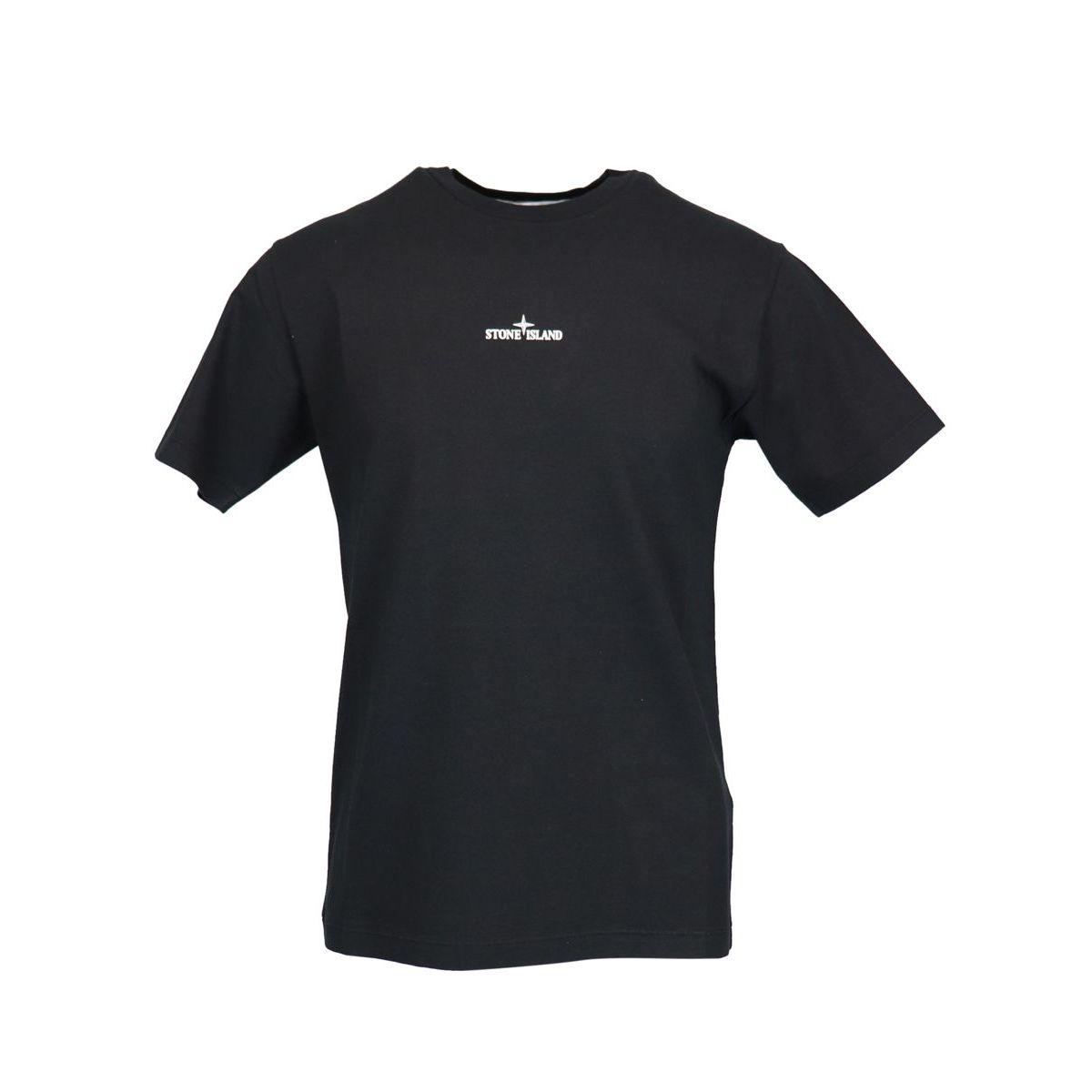 Cotton T-shirt with print on the back Black Stone Island