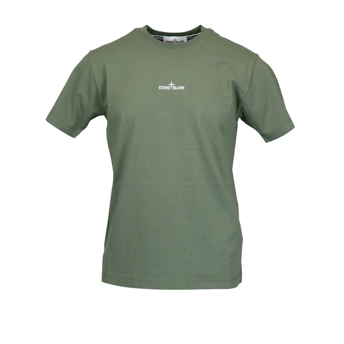 Cotton T-shirt with print on the back Olive Stone Island