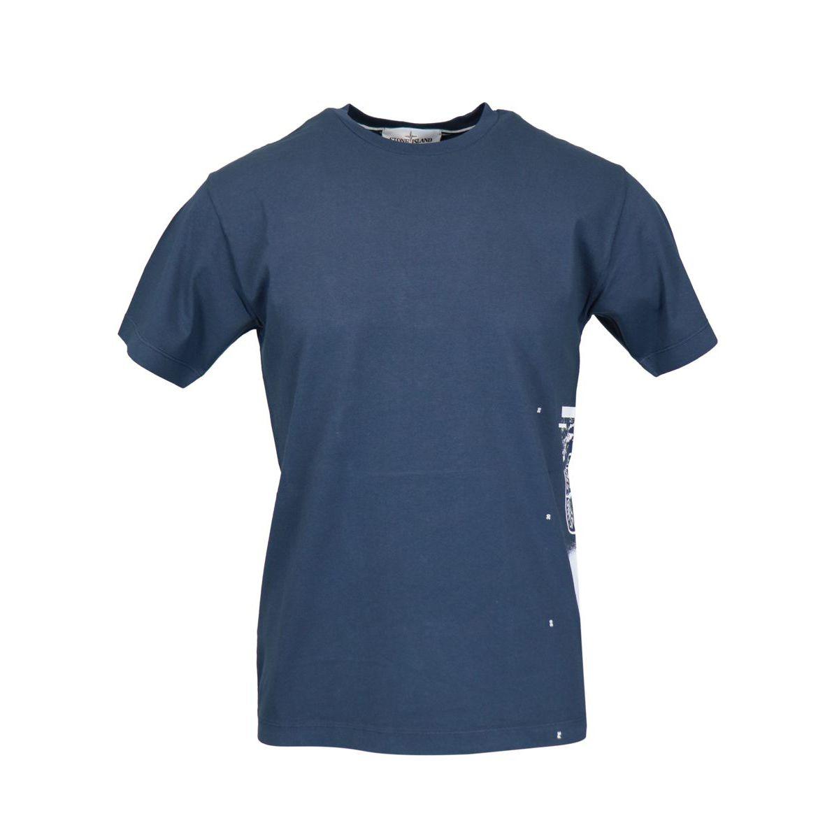 T-shirt in cotone con stampa logo laterale Blu marine Stone Island