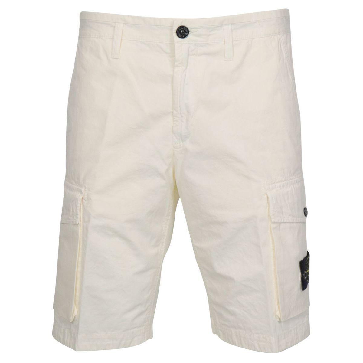 Slim-fit cotton cargo bermuda with pockets Ivory Stone Island