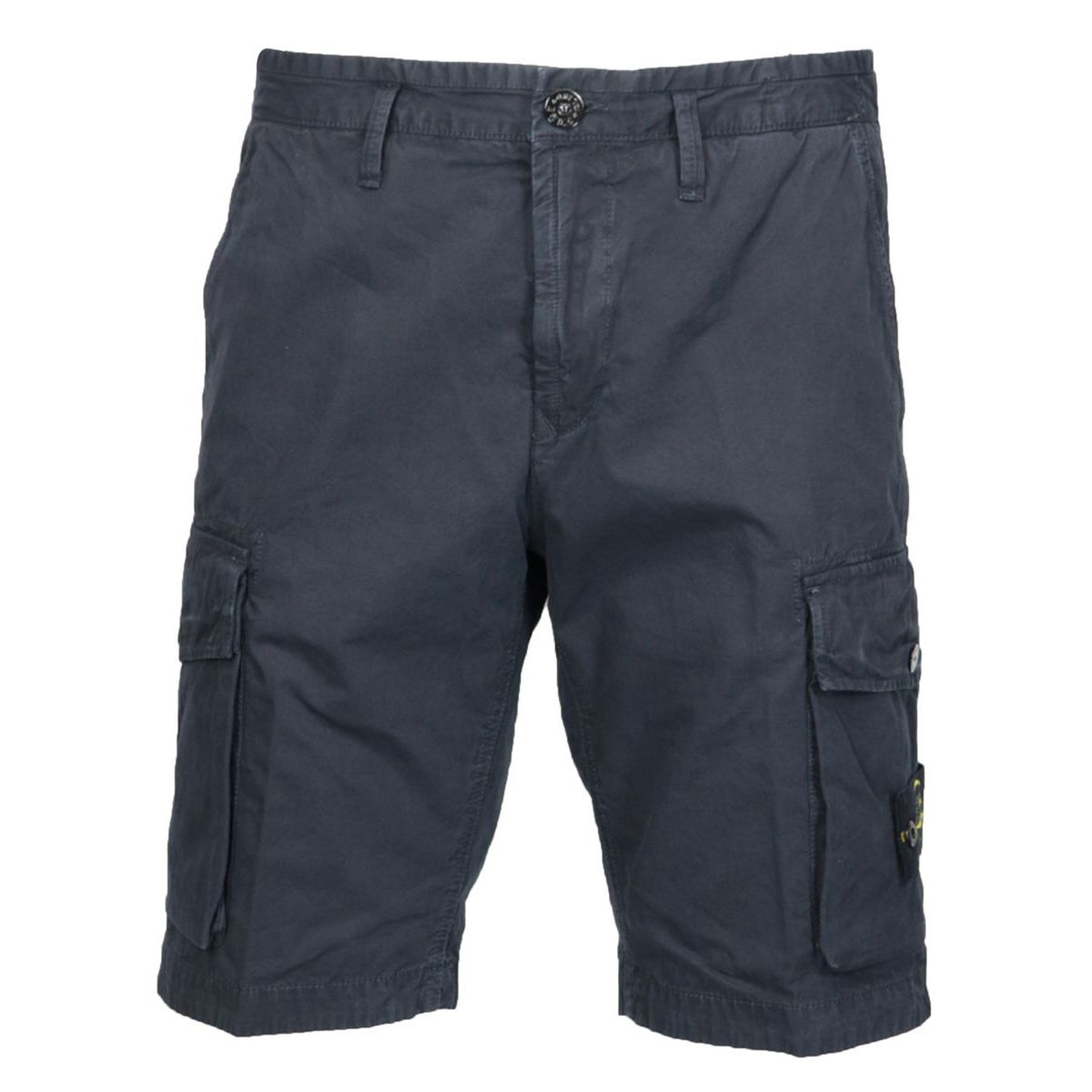 Slim-fit cotton cargo bermuda with pockets Blue Stone Island
