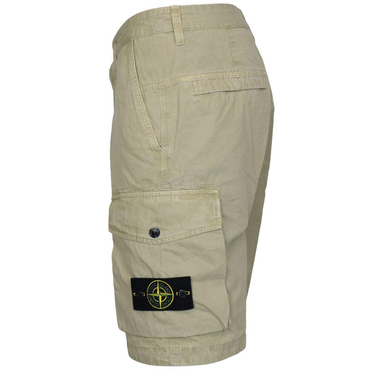 Slim-fit cotton cargo bermuda with pockets Bark Stone Island