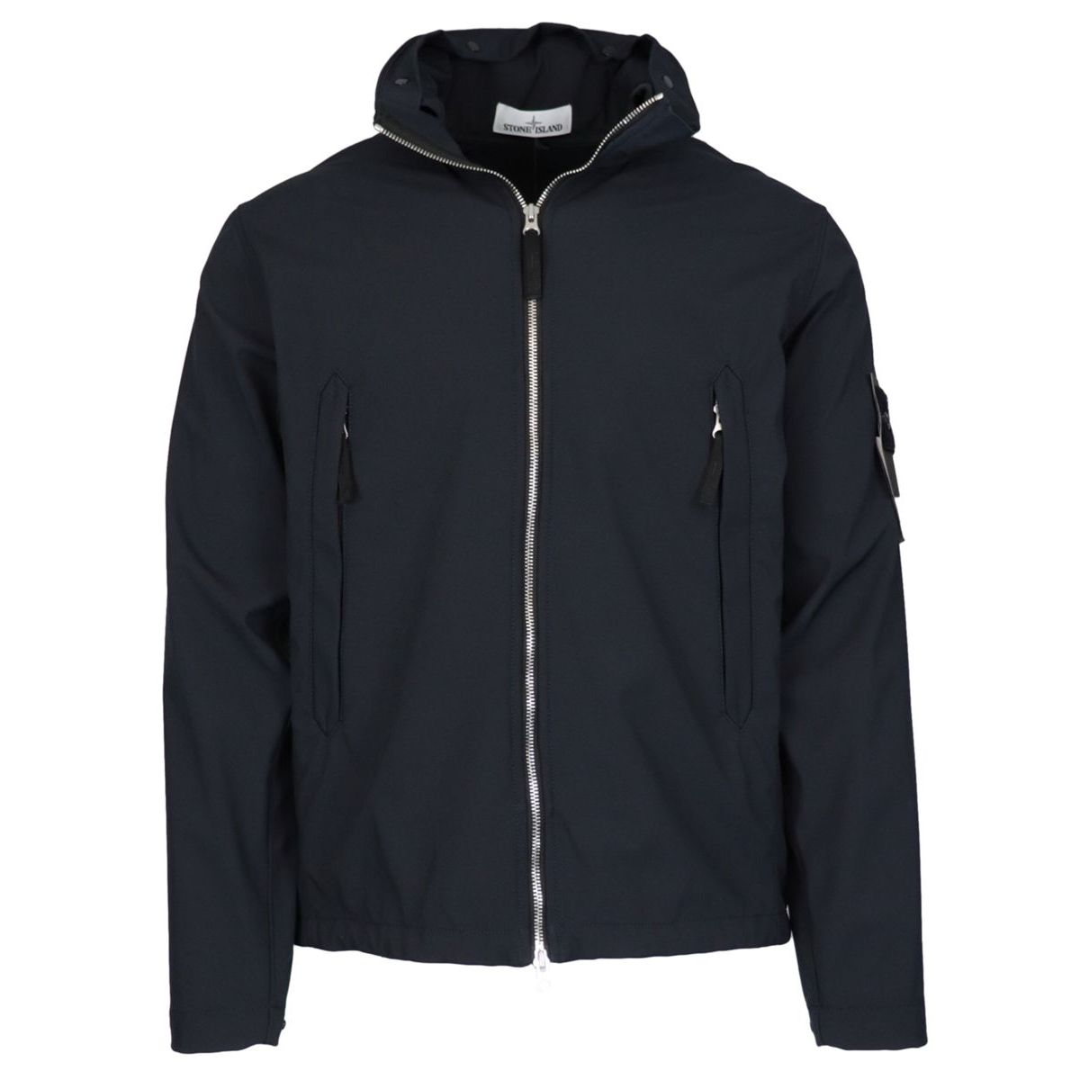 SOFT SHELL jacket with contrasting zip and removable hood Blue Stone Island
