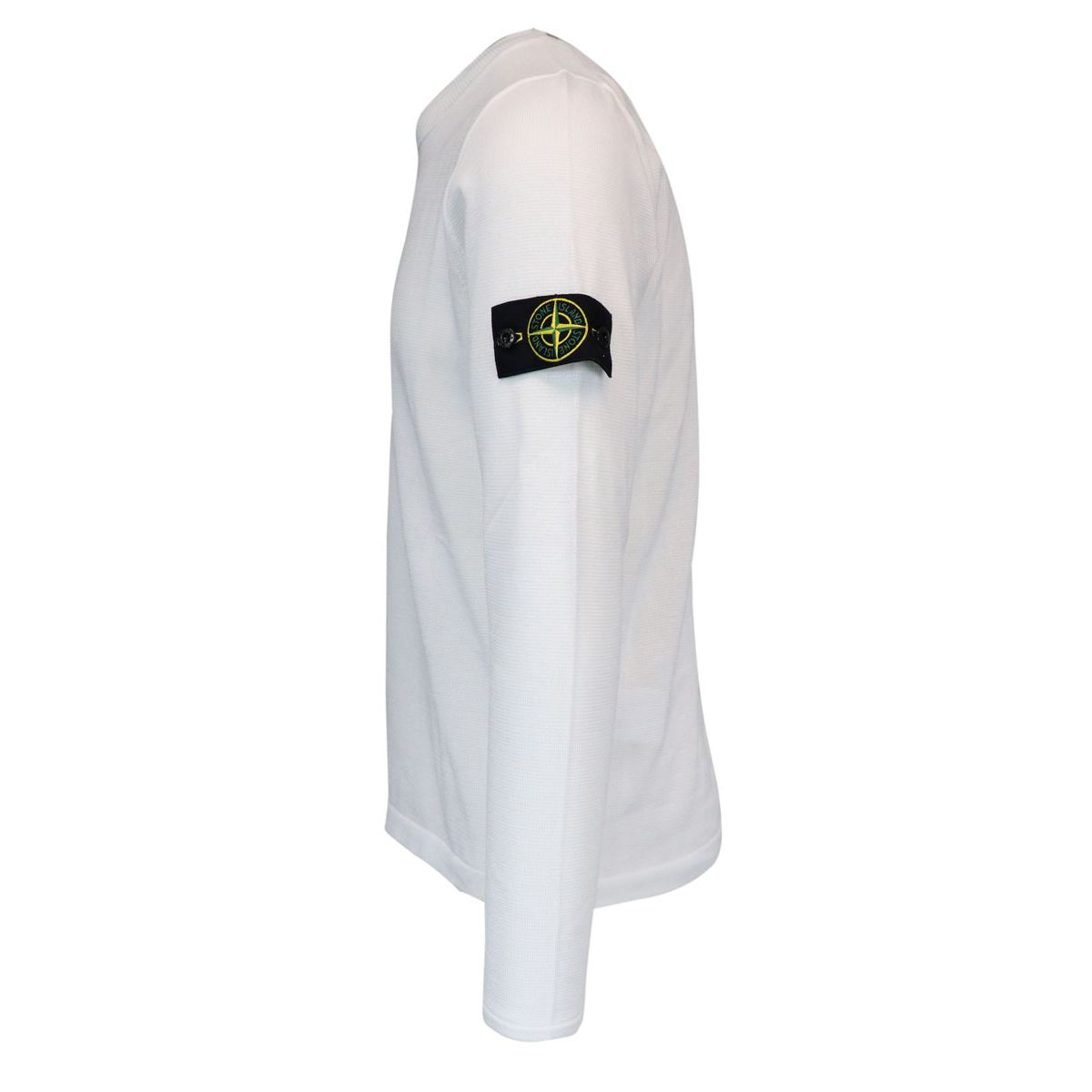 Crew neck cotton sweater with logo patch on sleeve White Stone Island