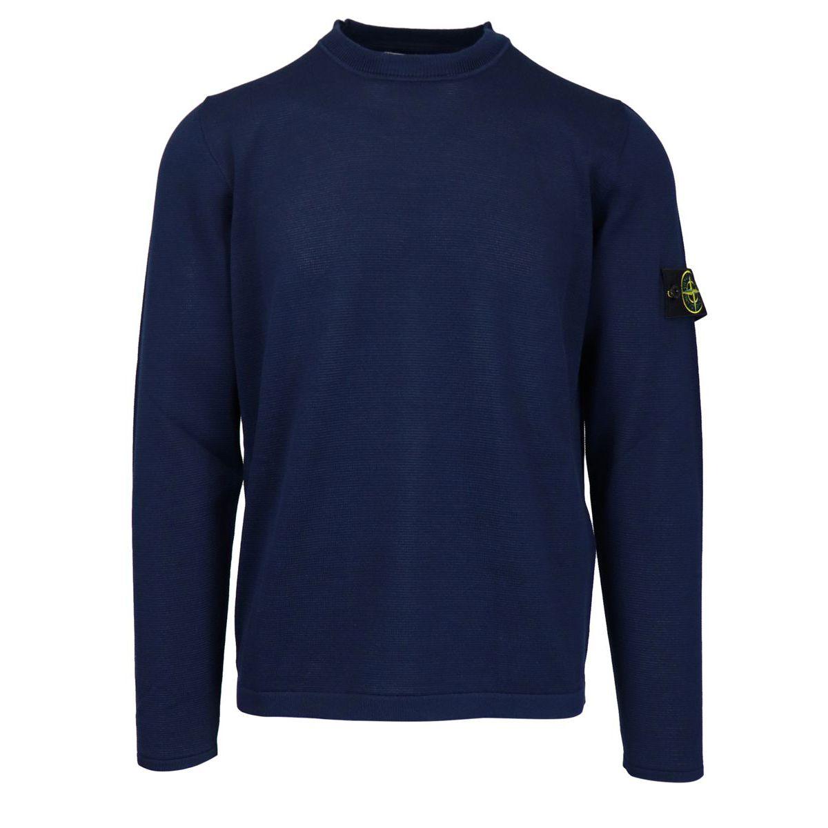 Crew neck cotton sweater with logo patch on sleeve Marine blue Stone Island