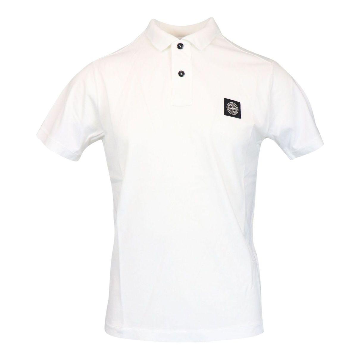 Polo in cotone a due bottoni con ricamo logo Bianco Stone Island