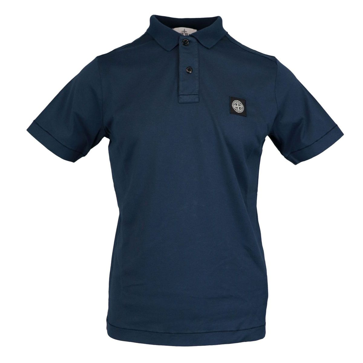 Two-button cotton polo shirt with logo embroidery Navy Stone Island