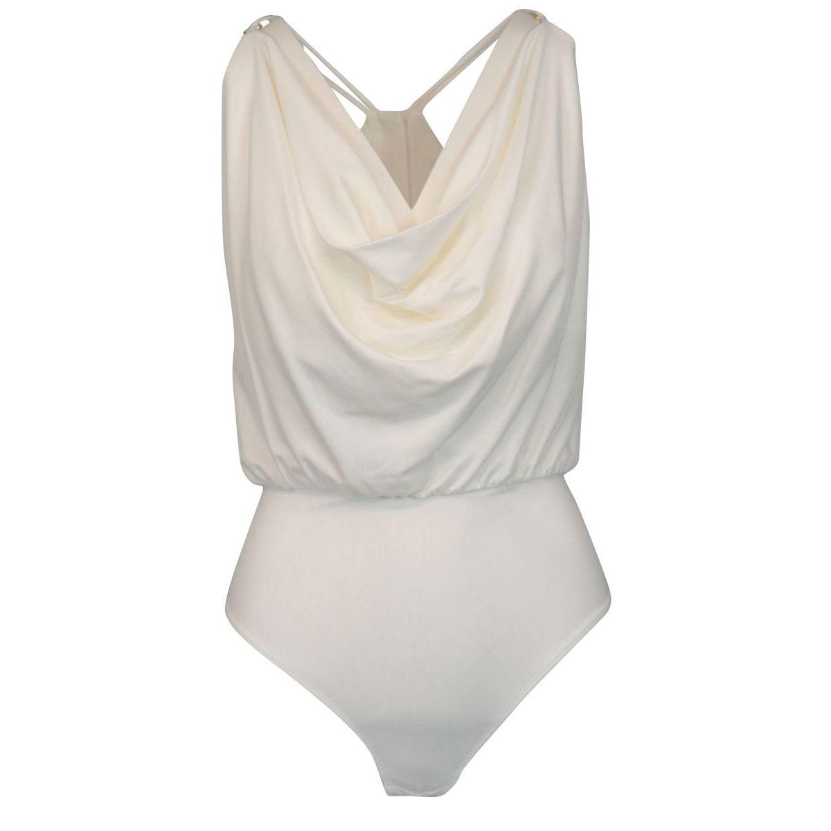 Body smanicato in jersey di viscosa con anelli Avorio Elisabetta Franchi