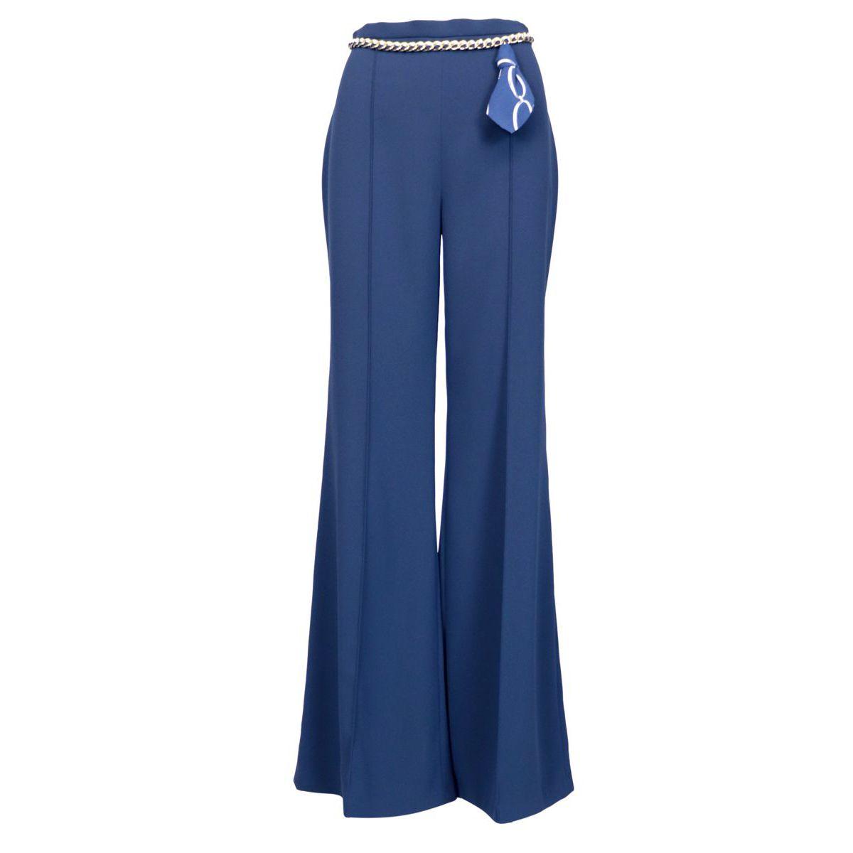Pantalone in crepe modello palazzo Blu/navy Elisabetta Franchi