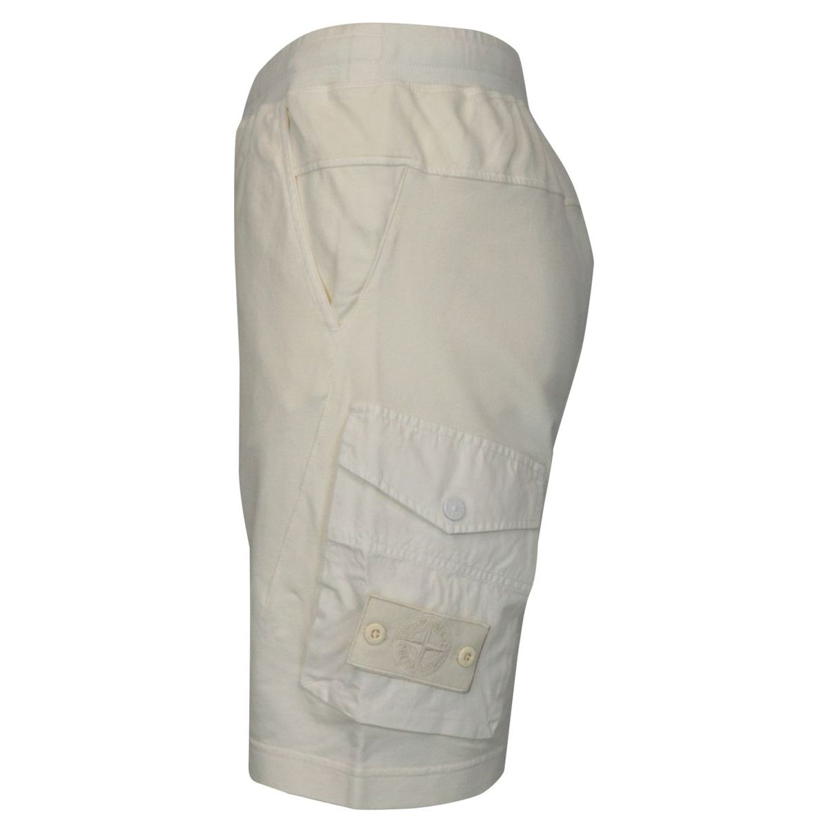 Fleece shorts with side pockets and matching logo patch White Stone Island