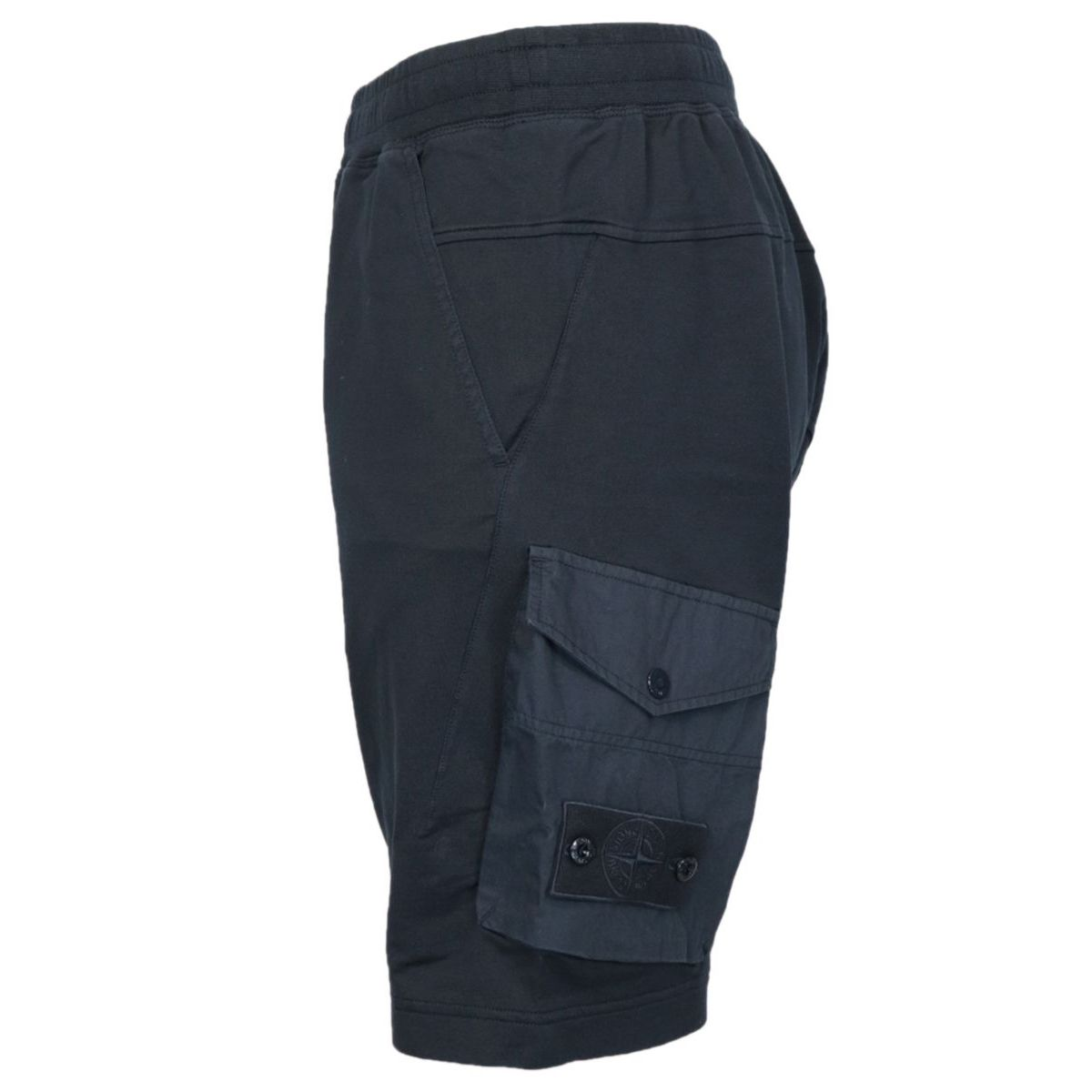 Fleece shorts with side pockets and matching logo patch Navy blue Stone Island