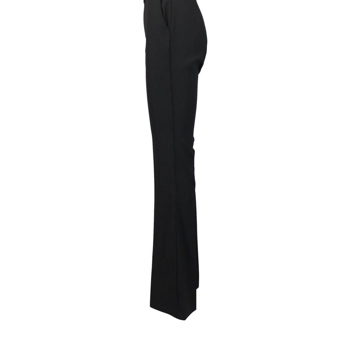 Pantalone a vita alta in tessuto bielastico Nero Elisabetta Franchi
