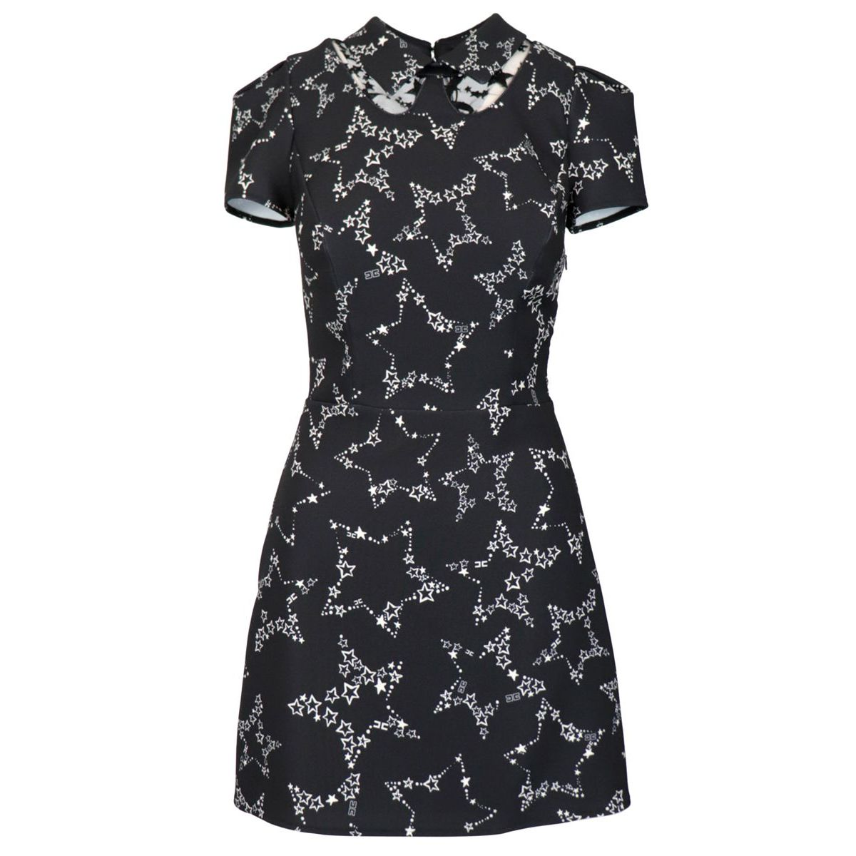 Short dress in star print crepe Black Elisabetta Franchi