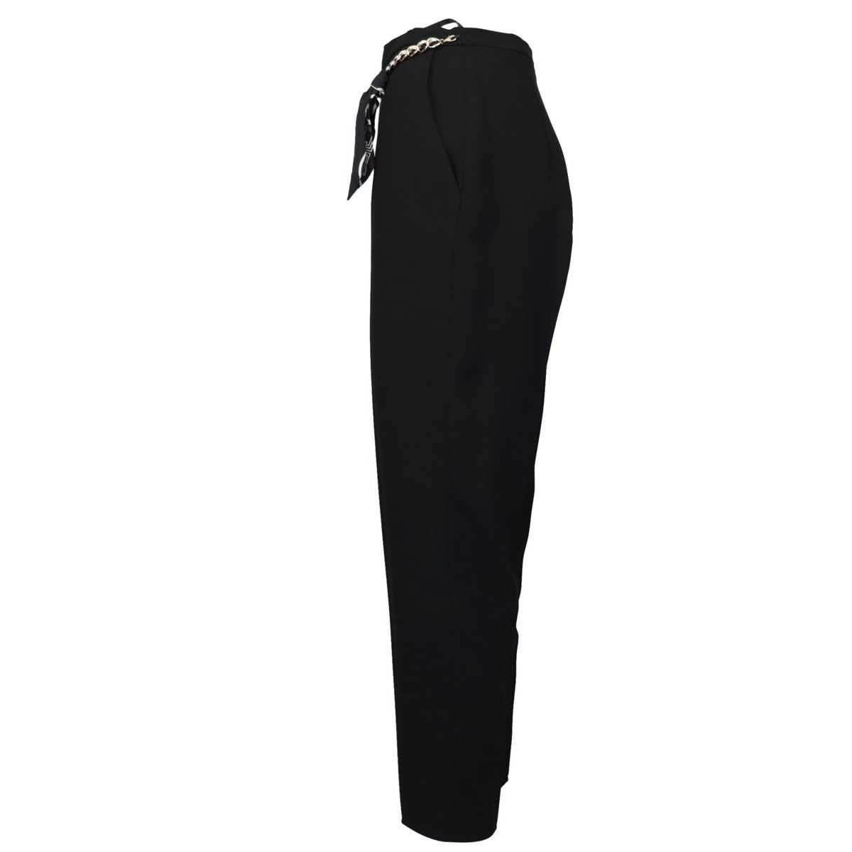 Crepe cigarette trousers with chain detail at the waist Black Elisabetta Franchi