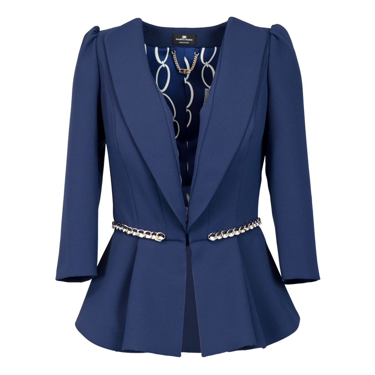 Crepe jacket with waist chain Navy blue Elisabetta Franchi