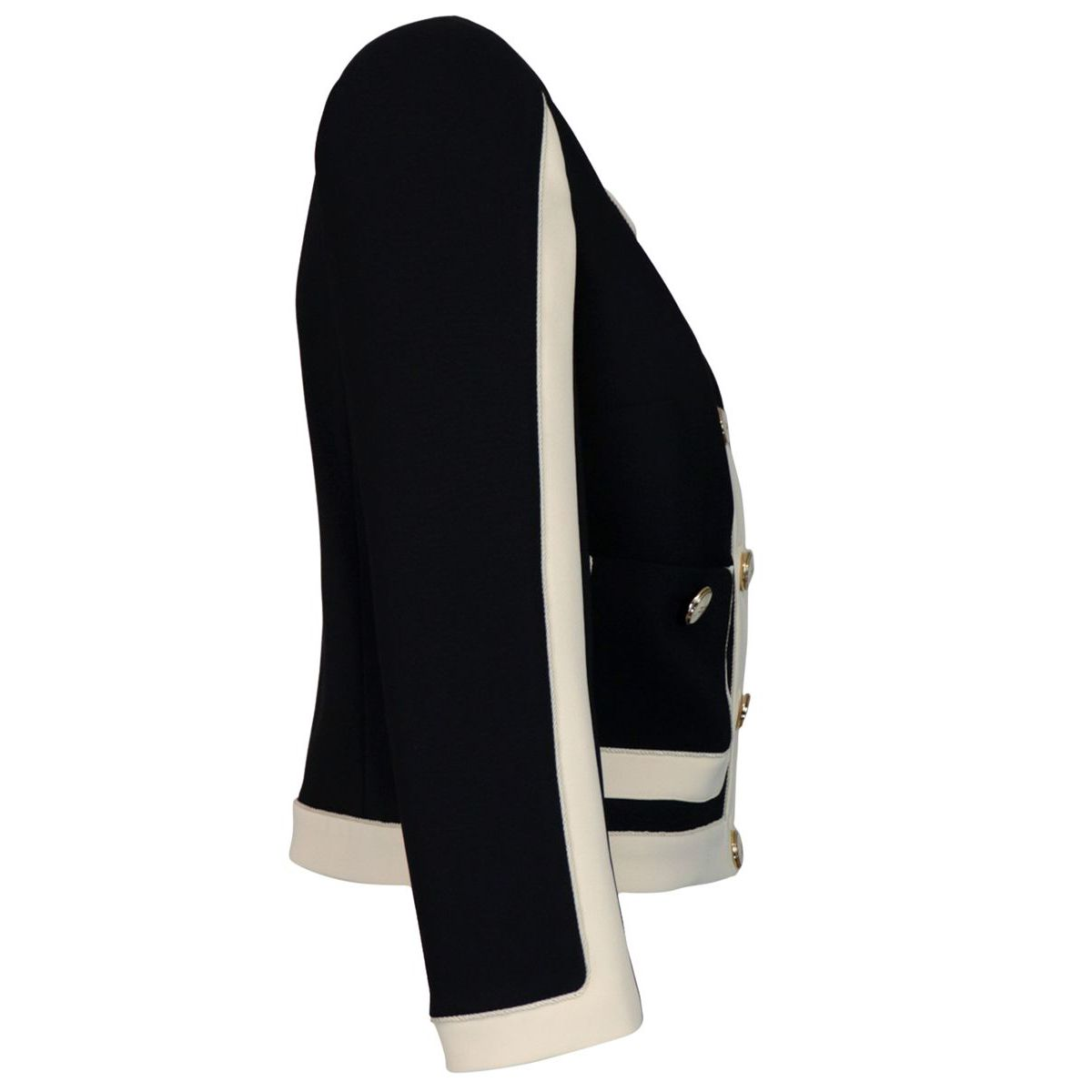 Short two-tone jacket in double crepe Black / butter Elisabetta Franchi
