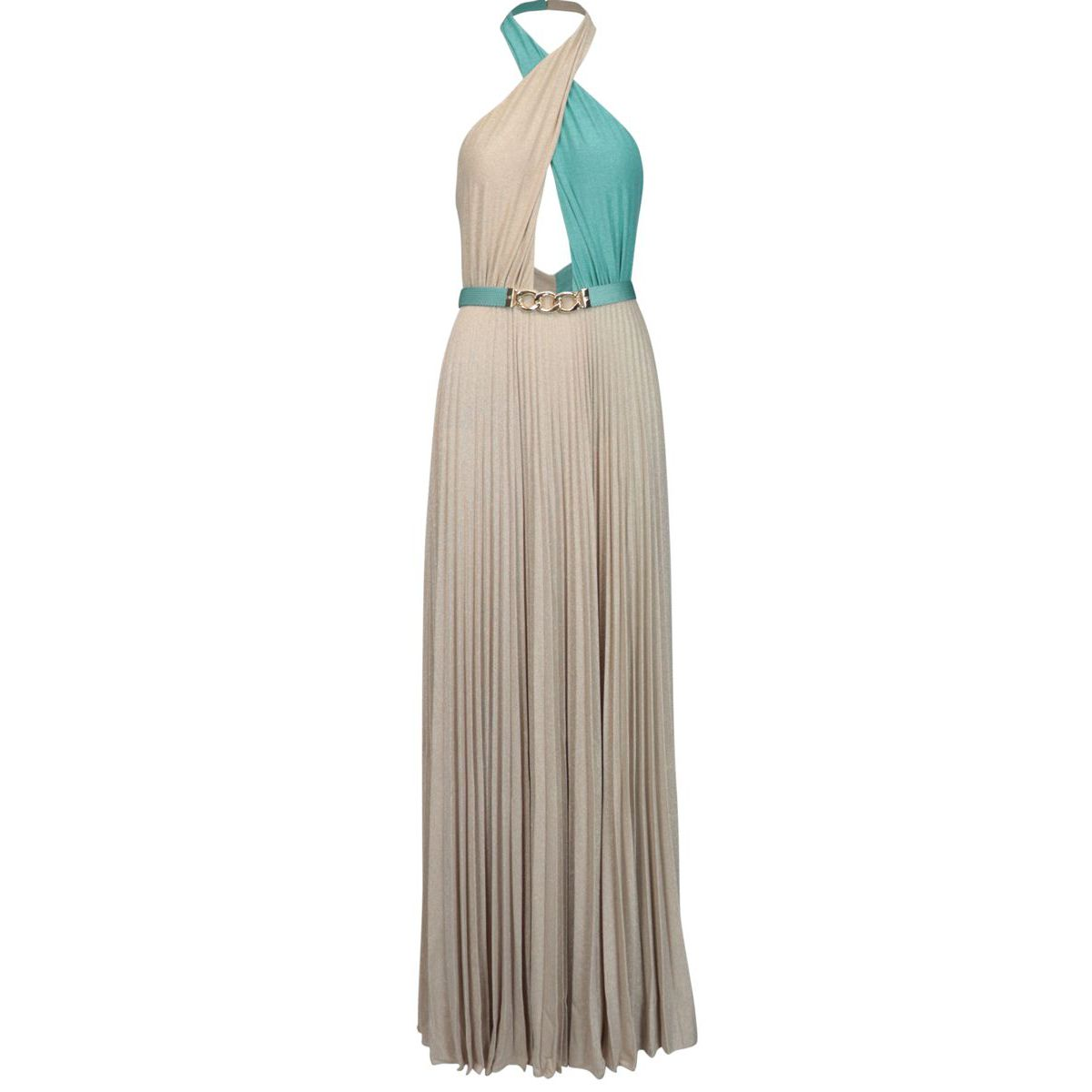 Long two-tone viscose blend dress with belt Gold / green Elisabetta Franchi