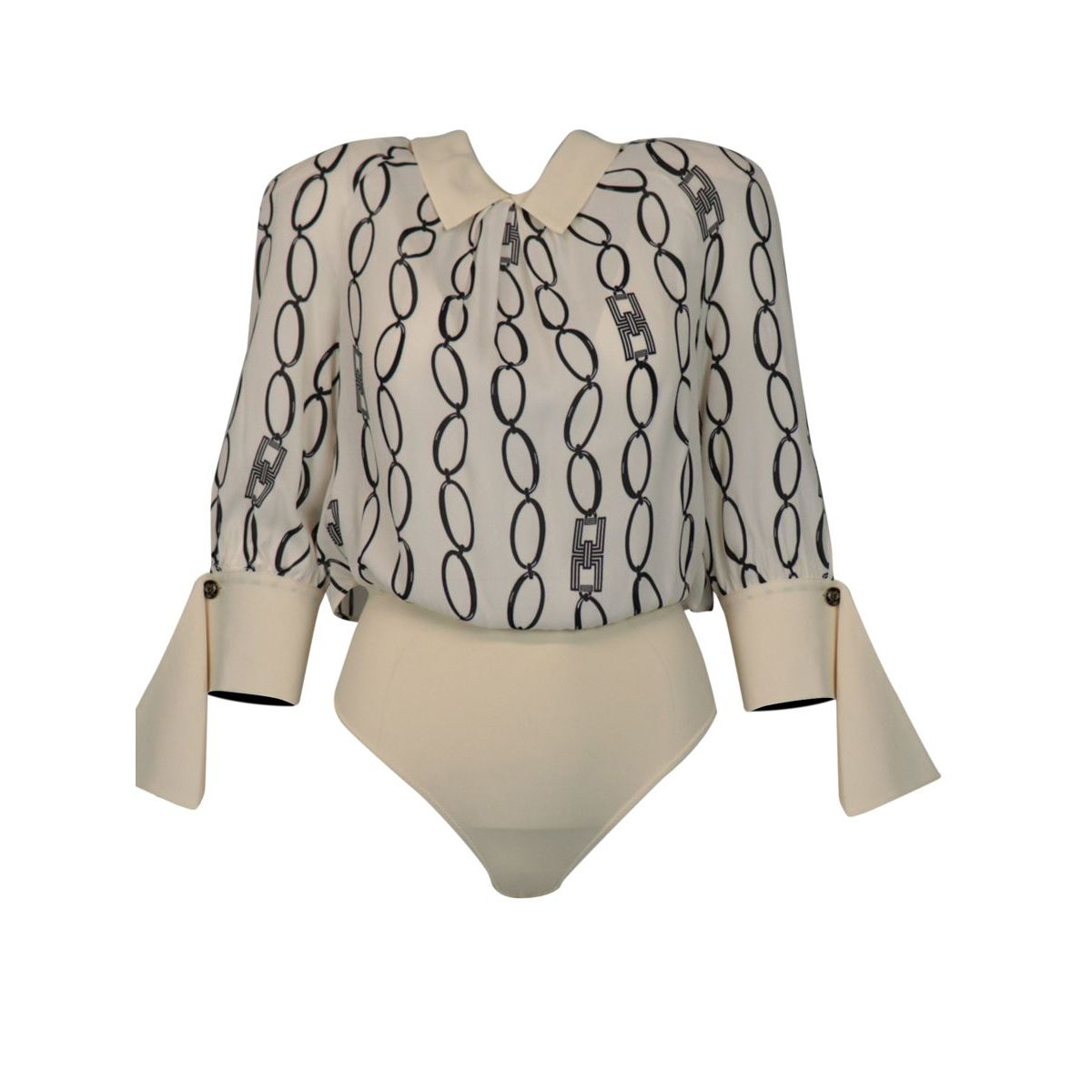 Body blouse with chain print Butter / black Elisabetta Franchi