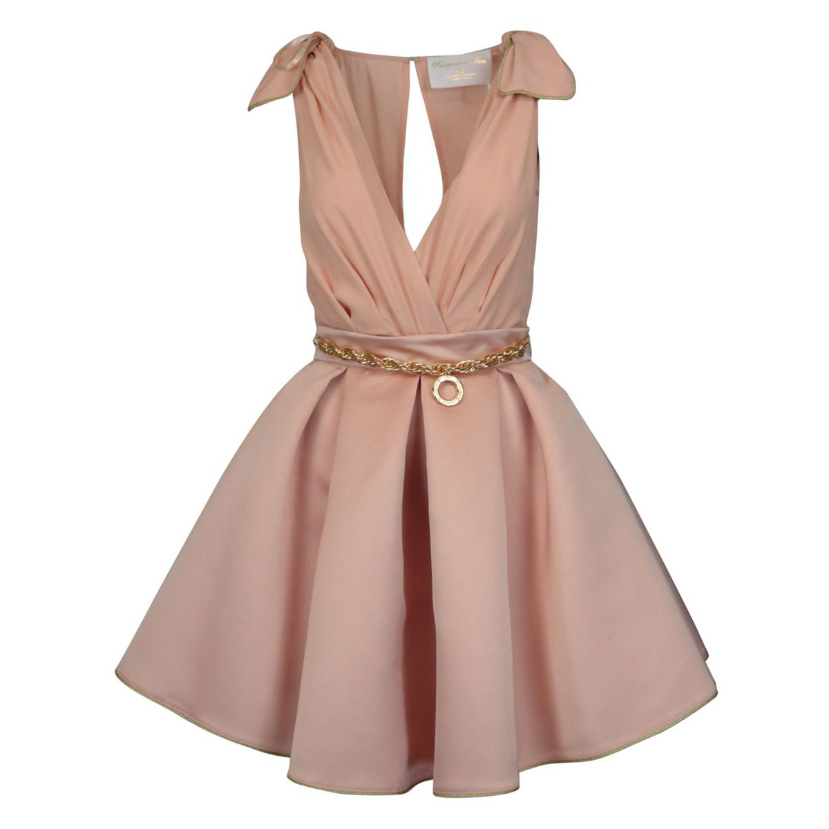 Sleeveless georgette and duchess dress Antique pink Elisabetta Franchi