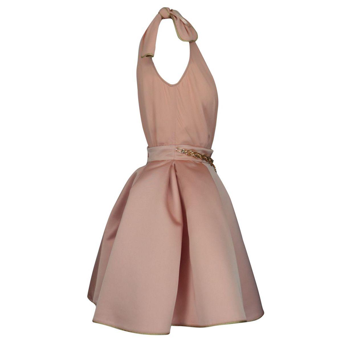 Sleeveless georgette and duchess dress Antique pink Elisabetta Franchi