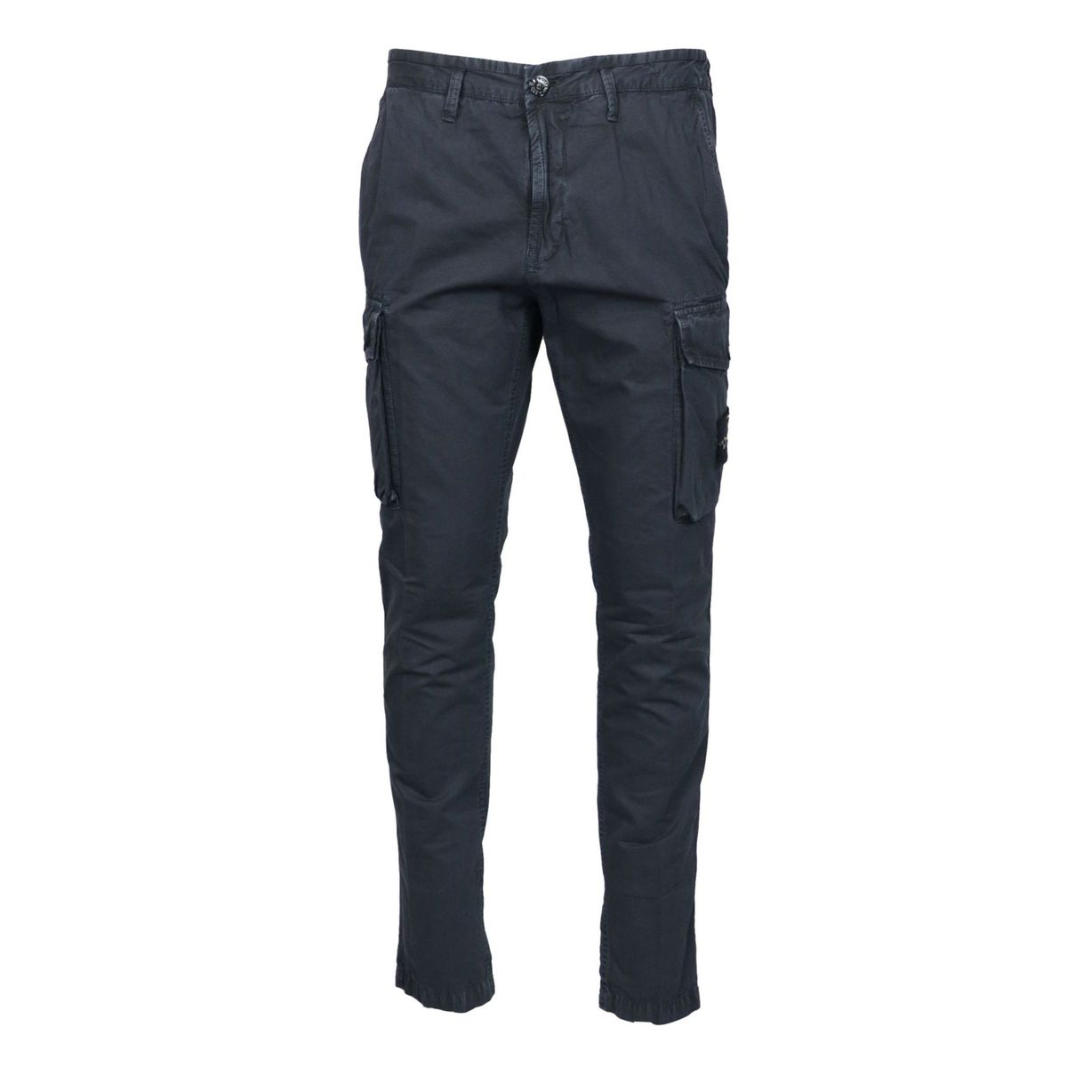 Washed effect Cargo trousers with logo patch Blue Stone Island