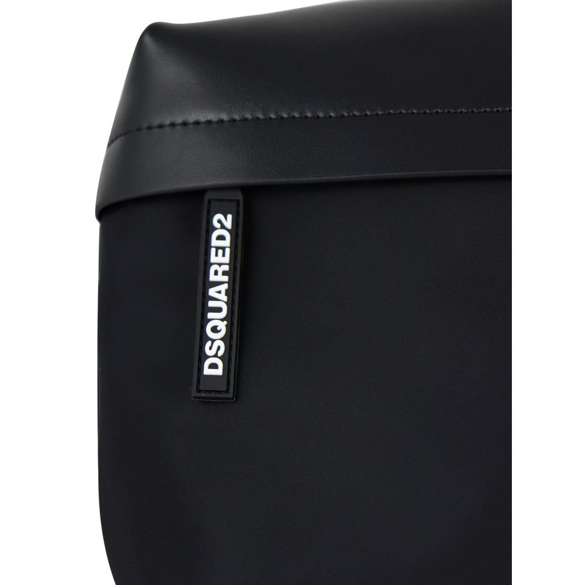 Nylon and leather belt bag with logo label Black Dsquared2