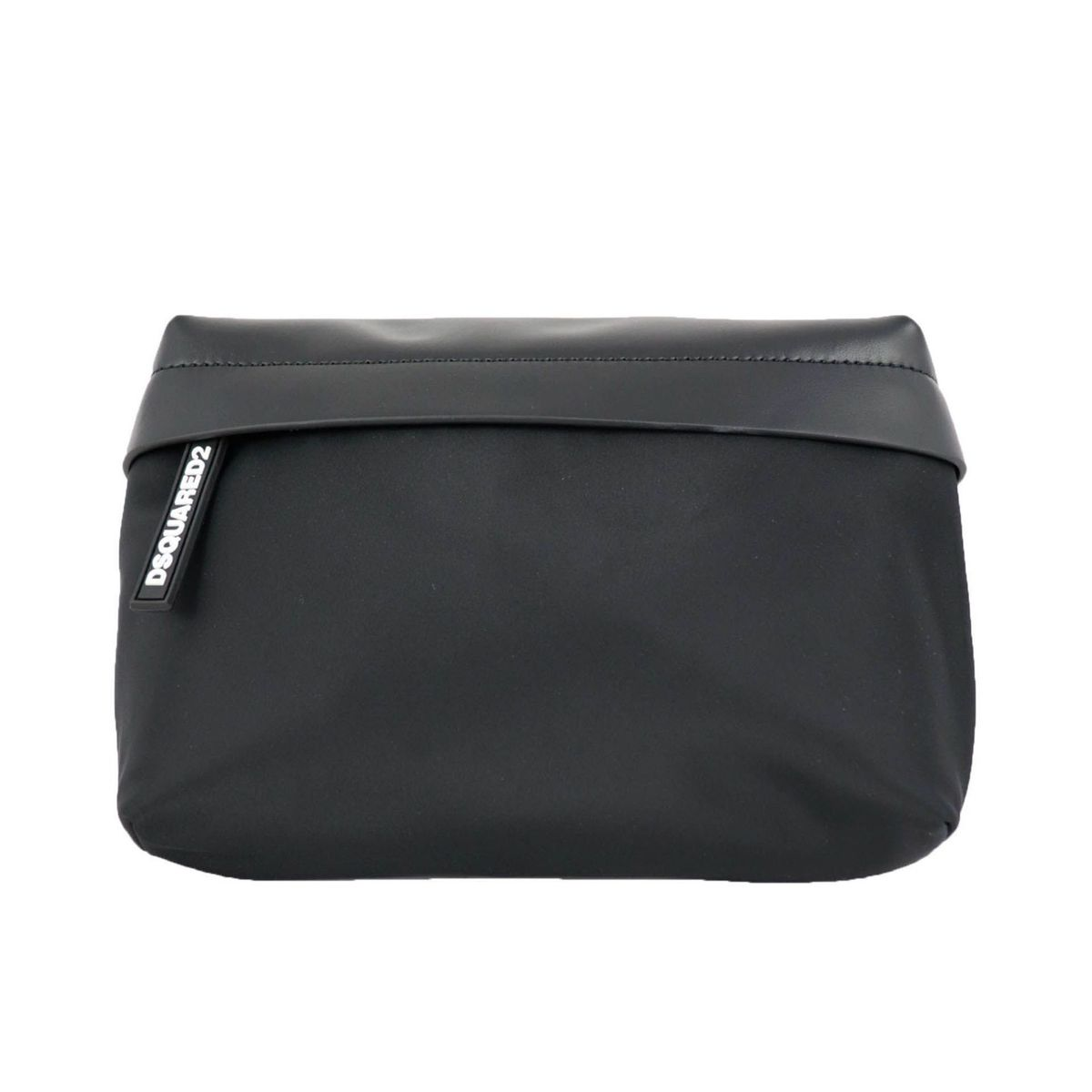 Maxi Beltbag in nylon and leather with logo label Black Dsquared2