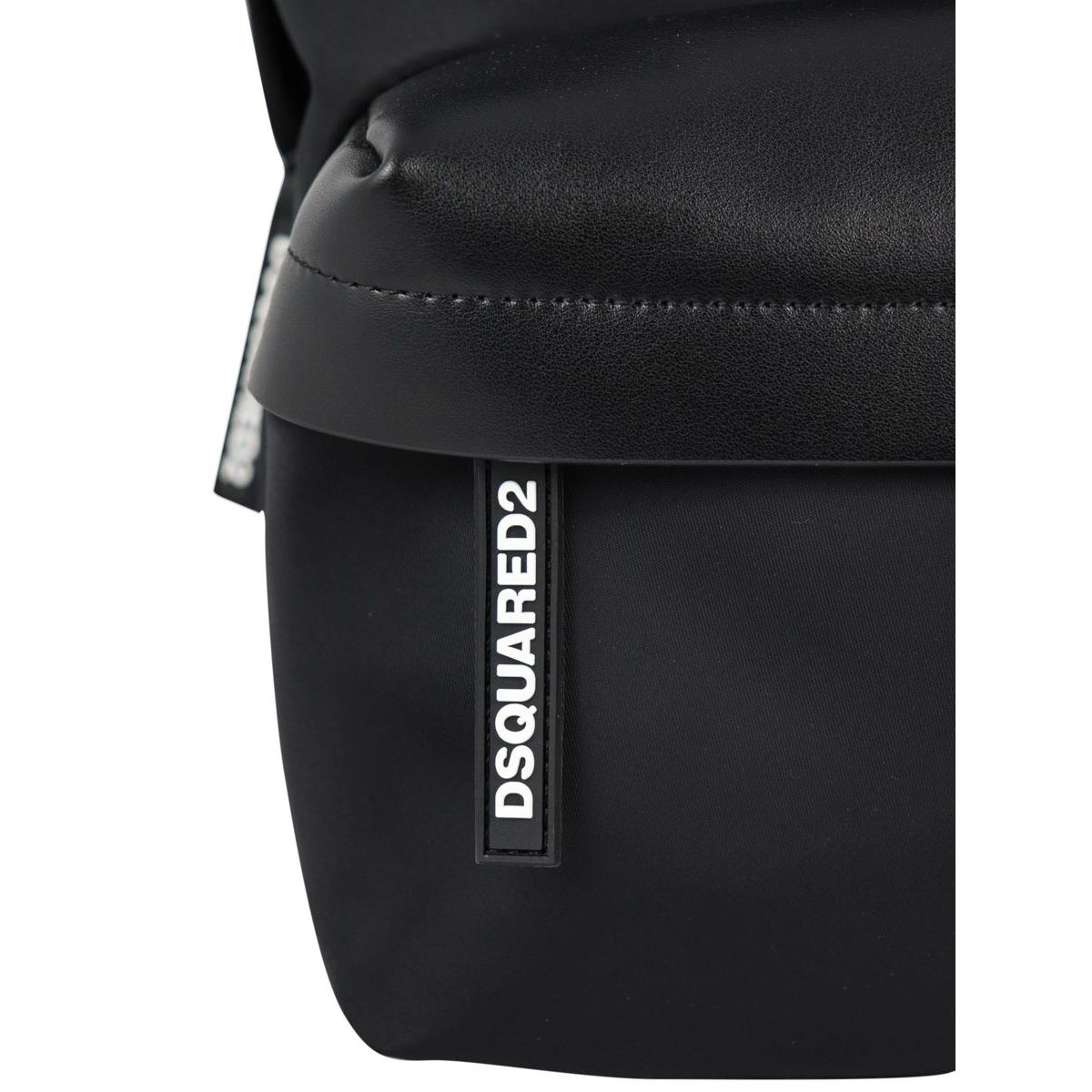 Nylon and leather backpack with logo label Black Dsquared2