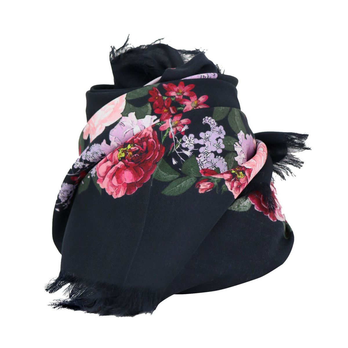 Modal keffiyeh with floral print and fringes Fantasy black Twin-Set