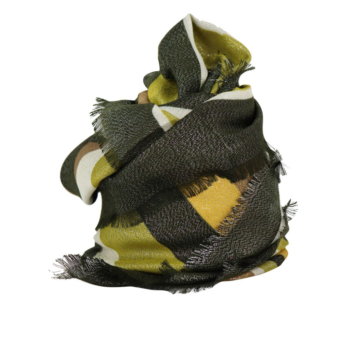 Lurex striped pattern viscose keffiyeh Green gold Twin-Set