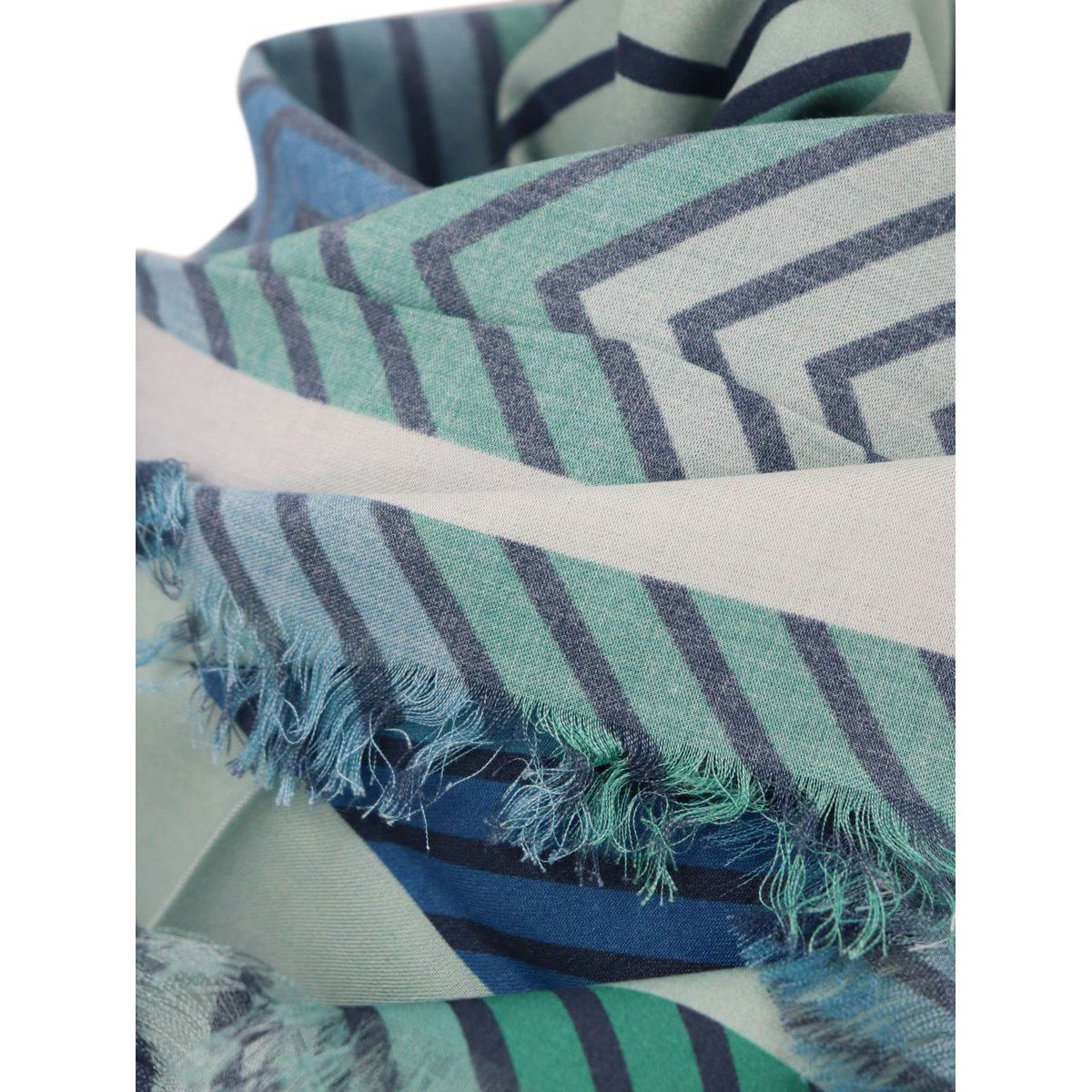 Keffiyeh in chevron print modal with frayed hem Green blue Twin-Set