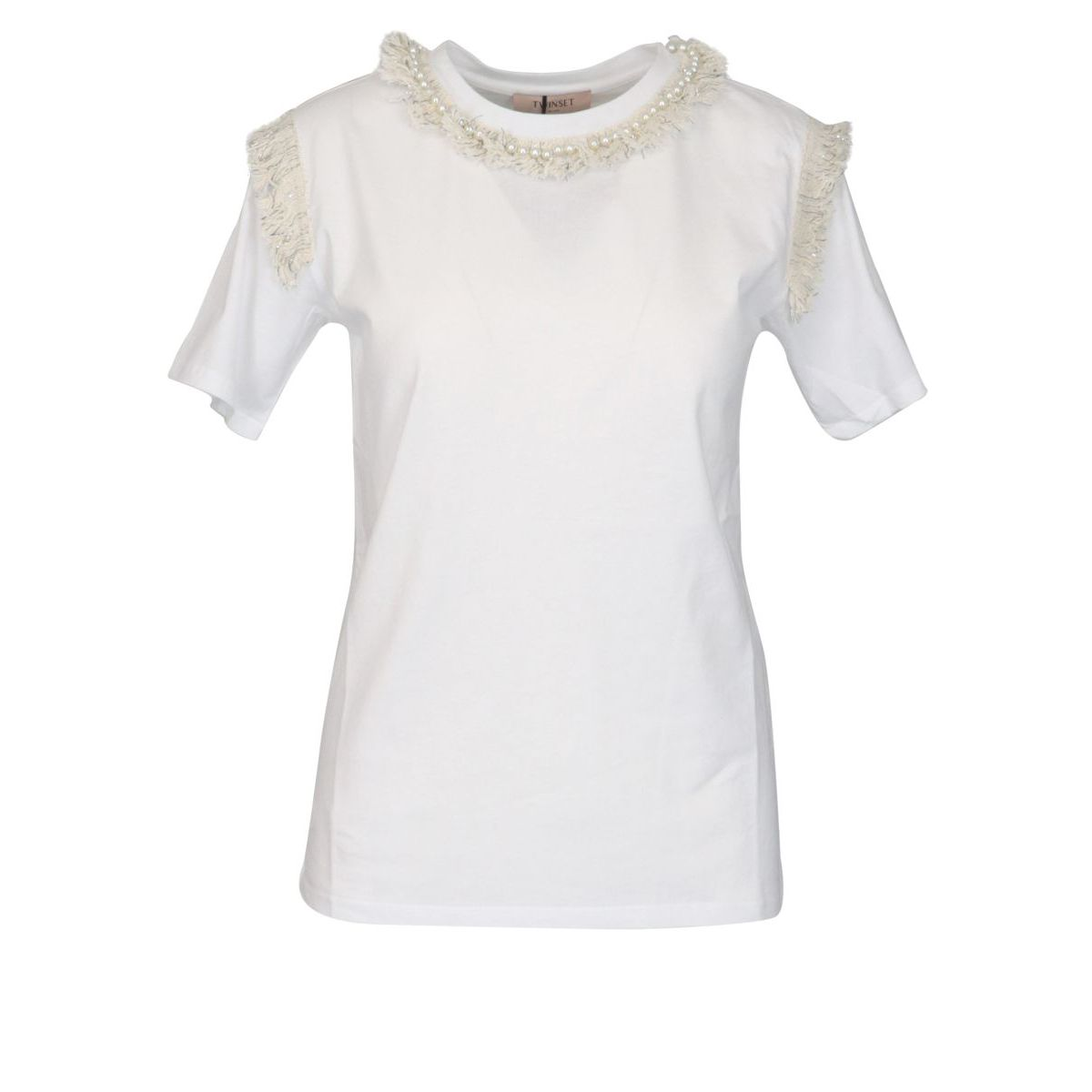 Short-sleeved cotton T-shirt with fringed detail and pearl embroidery Optical white Twin-Set