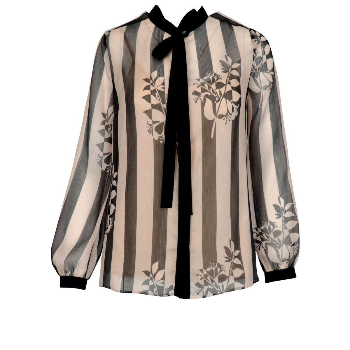 Crepe shirt with stripes and flowers pattern Cream / black Twin-Set