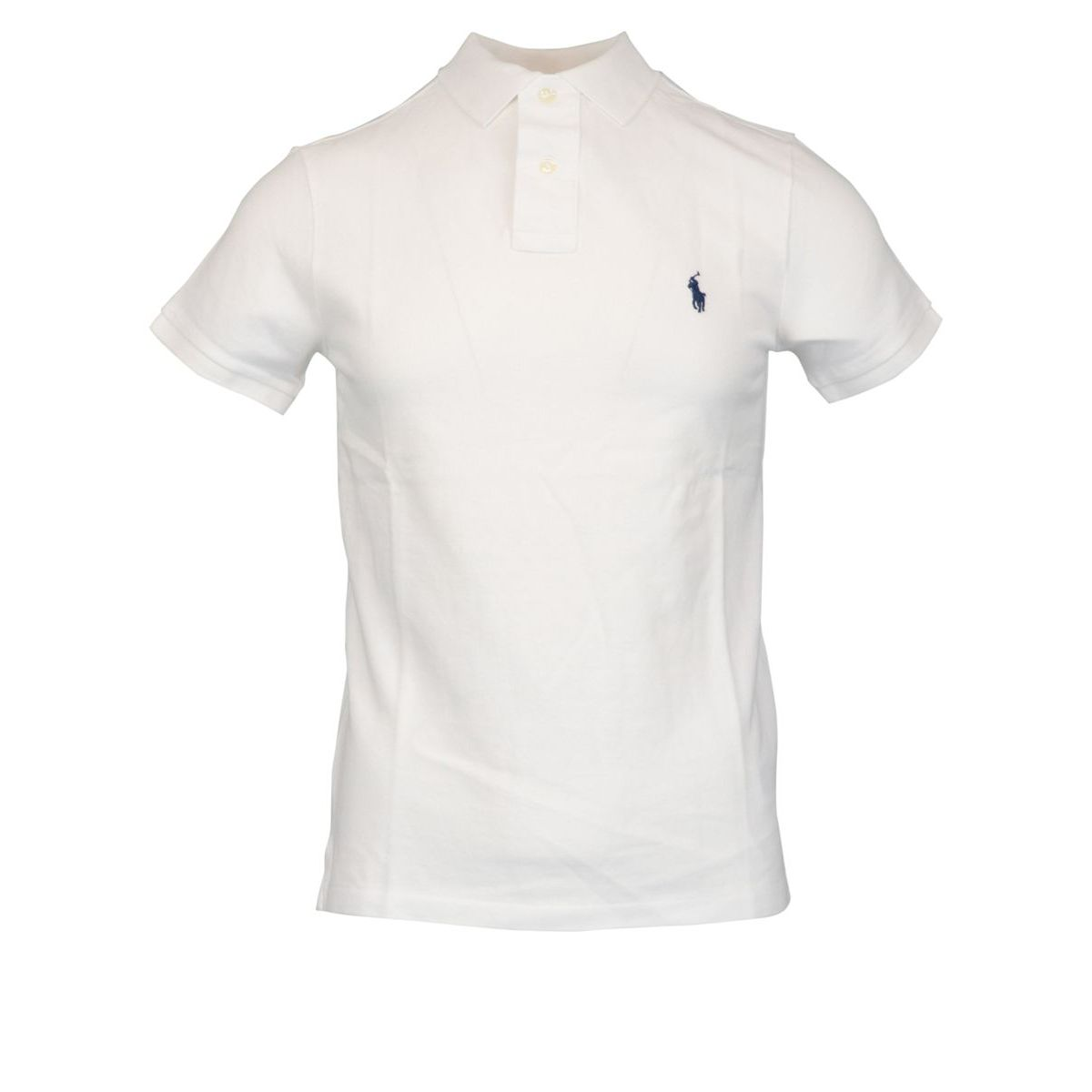 Cotton polo shirt with two buttons Custom Fit White Polo Ralph Lauren