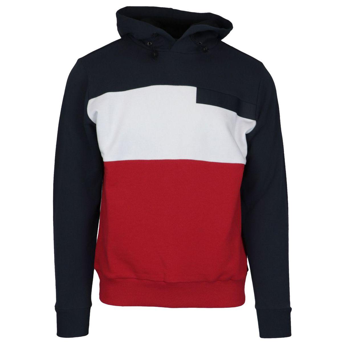 Tricolor cotton sweatshirt with hood Blue Colmar